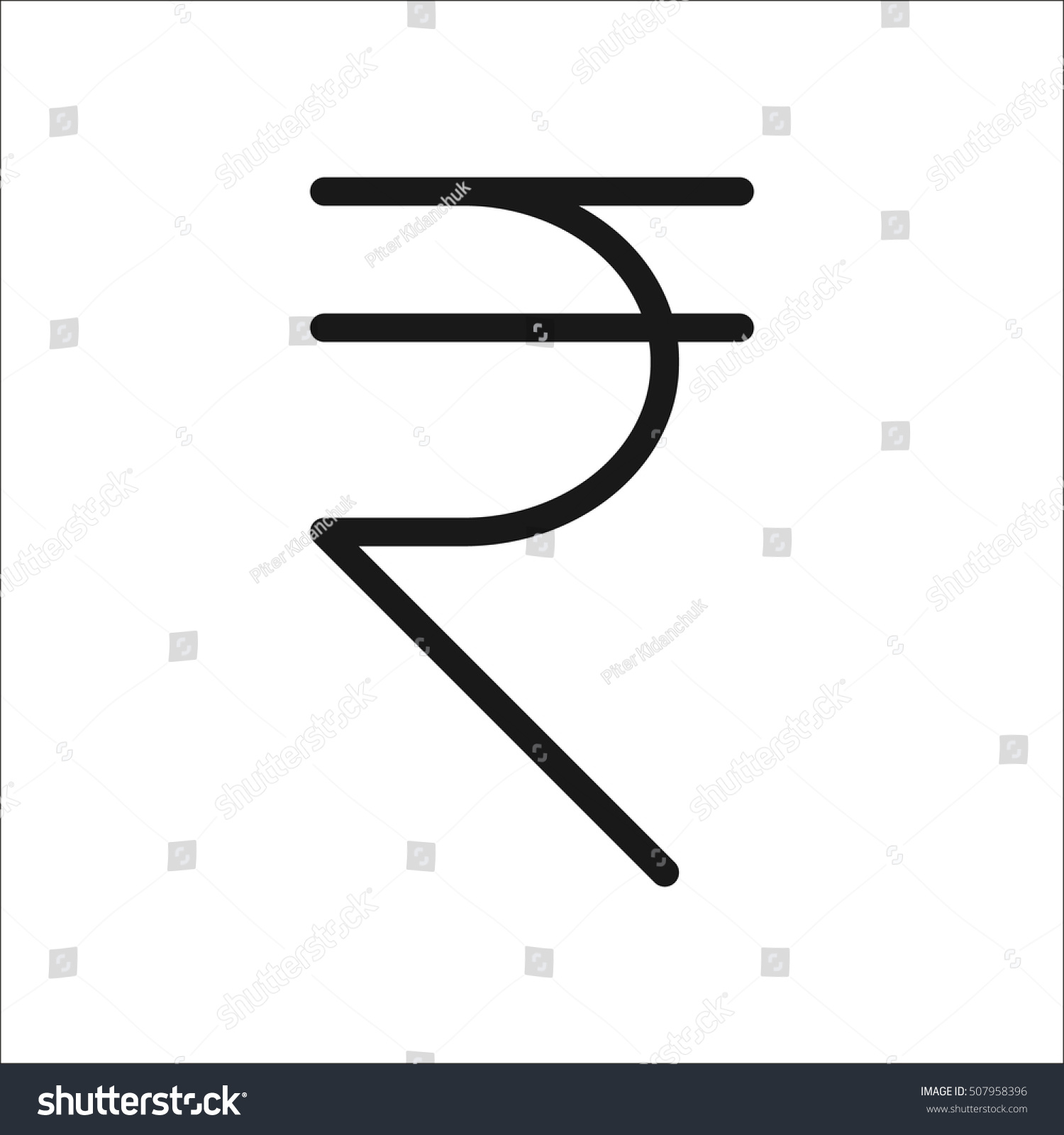 Indian Rupee Symbol Sign Line Icon Stock Vector Royalty Free