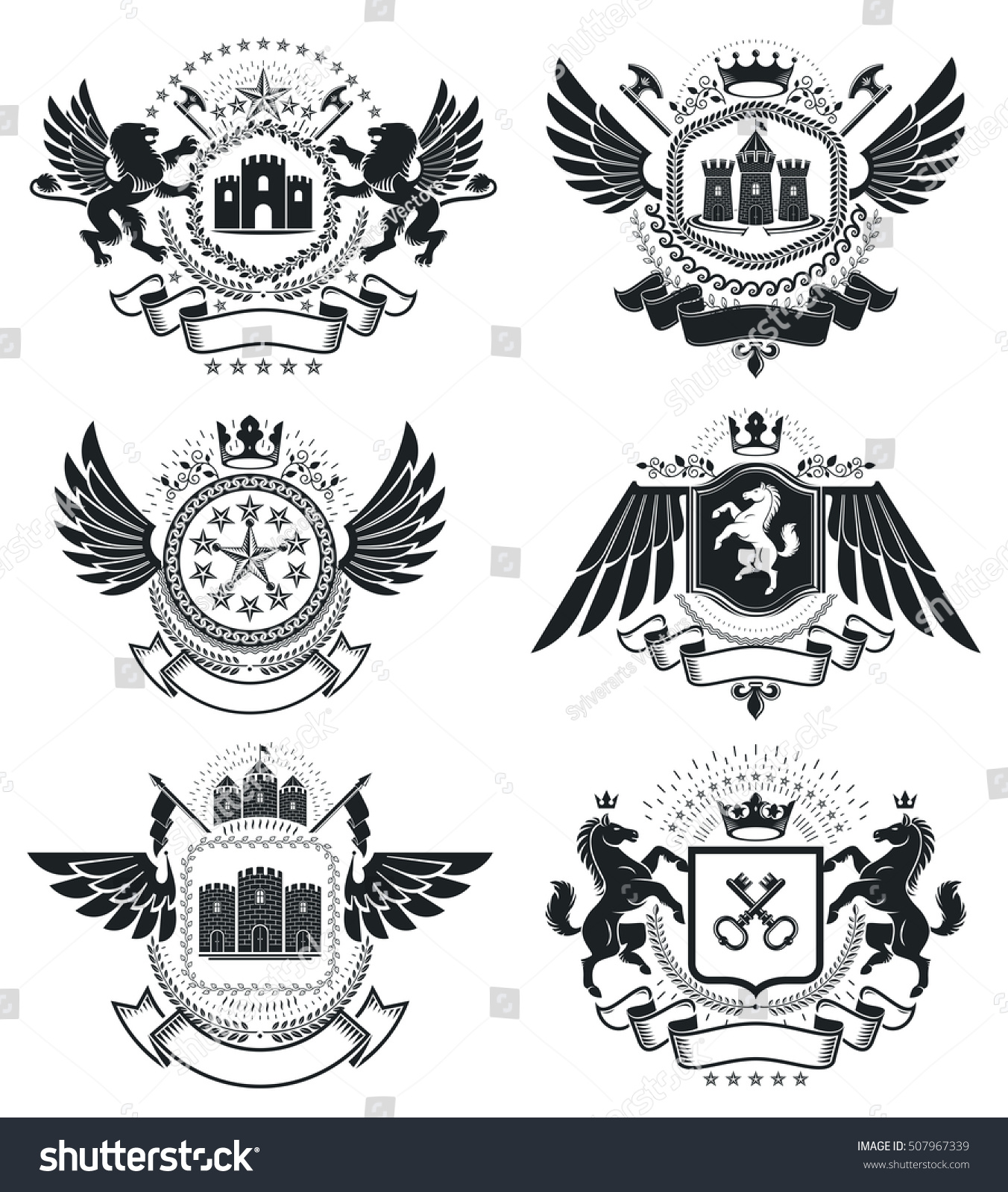 Heraldic coat arms vintage vector emblems stock vector 507967339 heraldic coat of arms vintage vector emblems classy high quality symbolic illustrations collection biocorpaavc Images