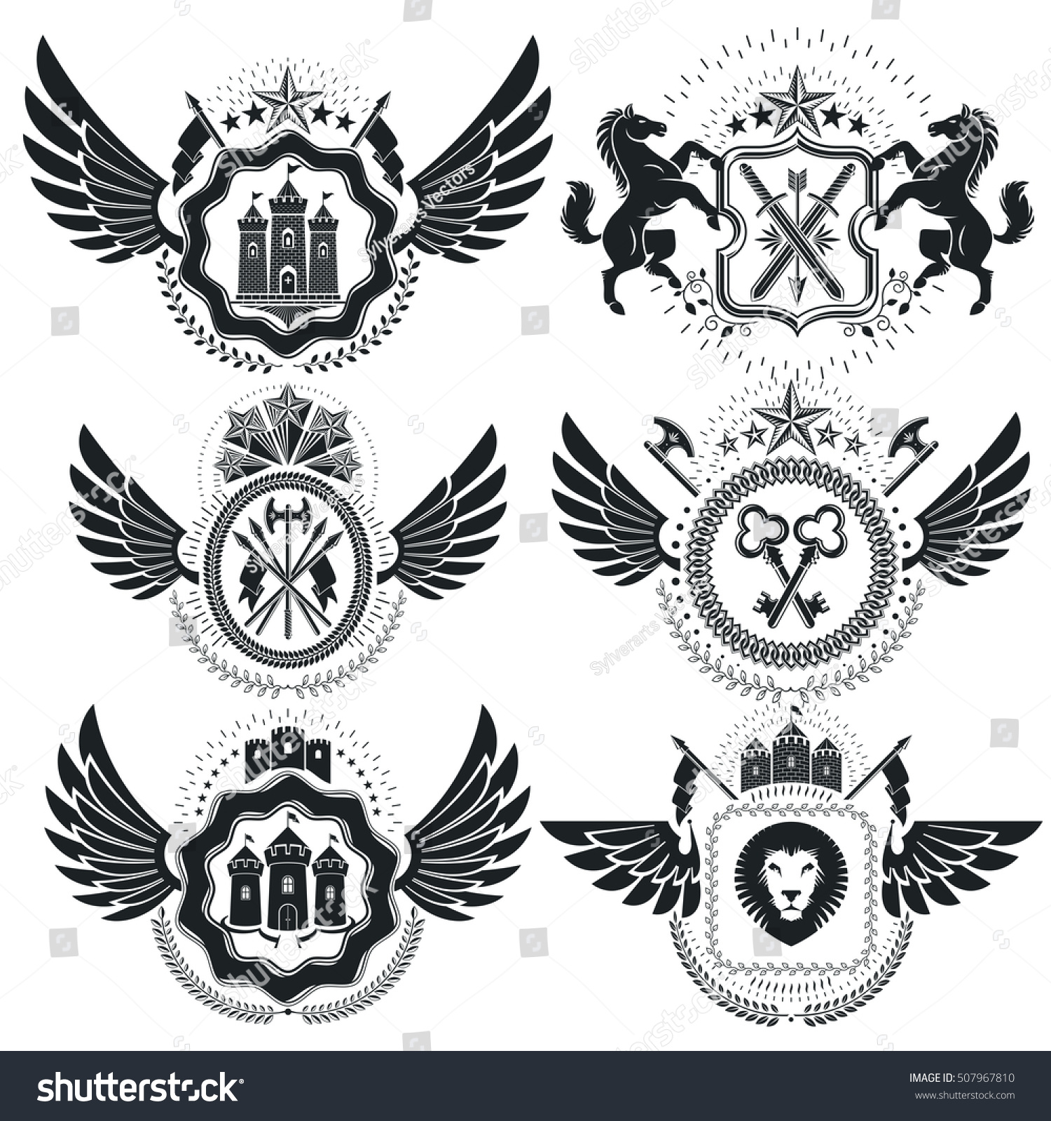Heraldic coat arms decorative emblems collection stock vector heraldic coat of arms decorative emblems collection of symbols in vintage style biocorpaavc Images