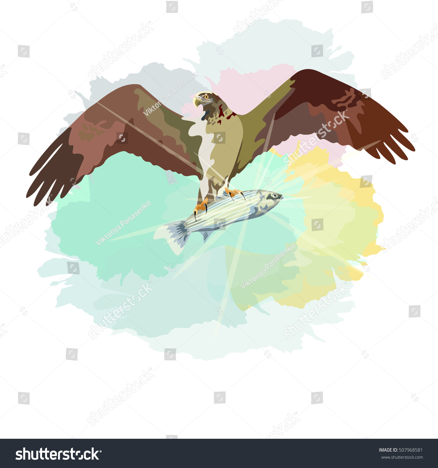 Abstract Watercolor Draw Eagle Soaring Sky Stock Vector (Royalty ...