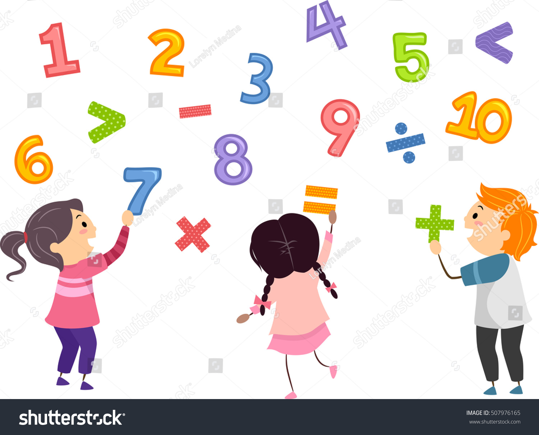 Stickman Illustration Preschool Kids Playing Numbers Stock Vector ...