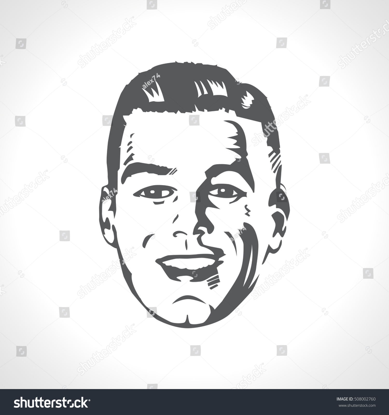 Line Drawing Of Happy Face : Happy male face smile retro vector stock