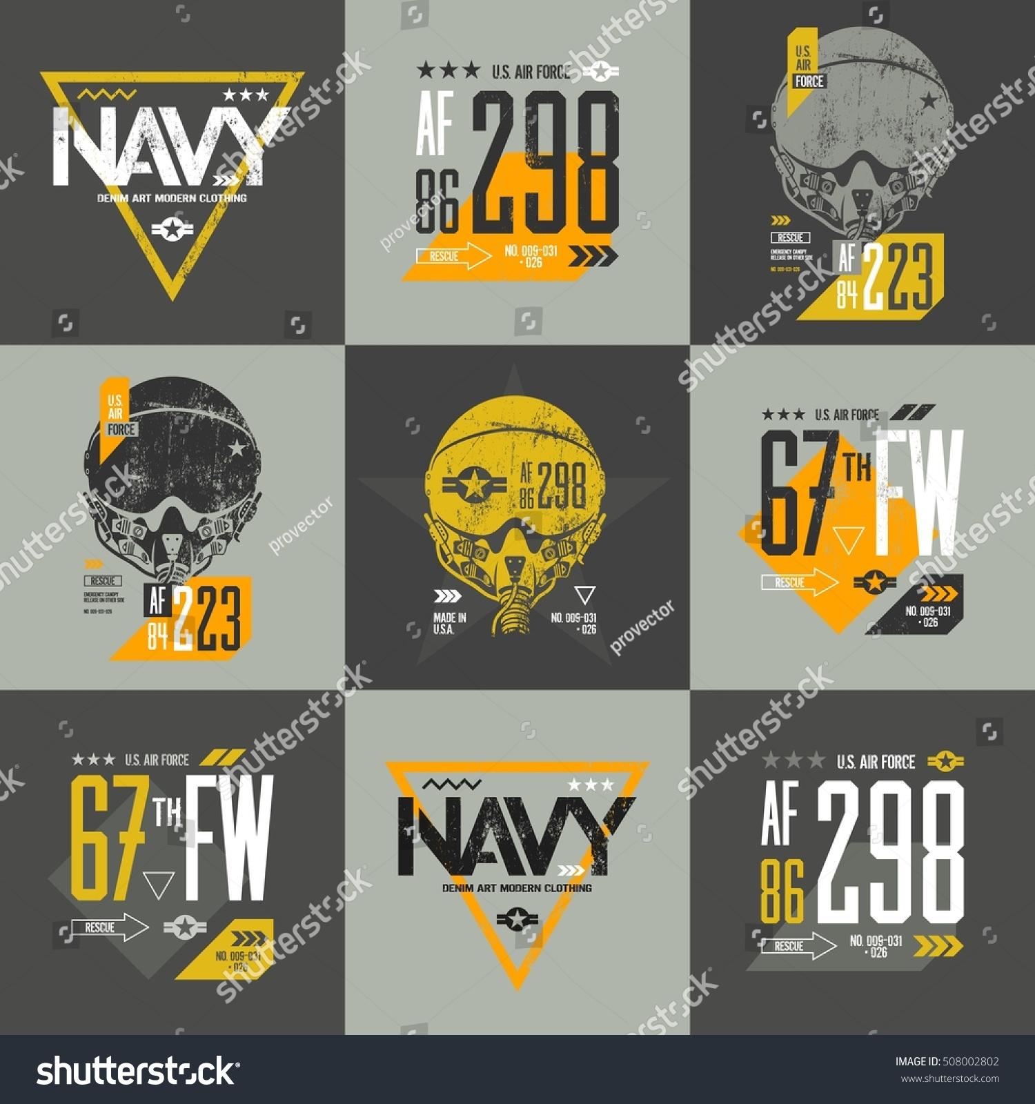 Shirt design vector pack - American Air Force Grunge Number T Shirt Design Vector Set Aviation Pilot Helmet T