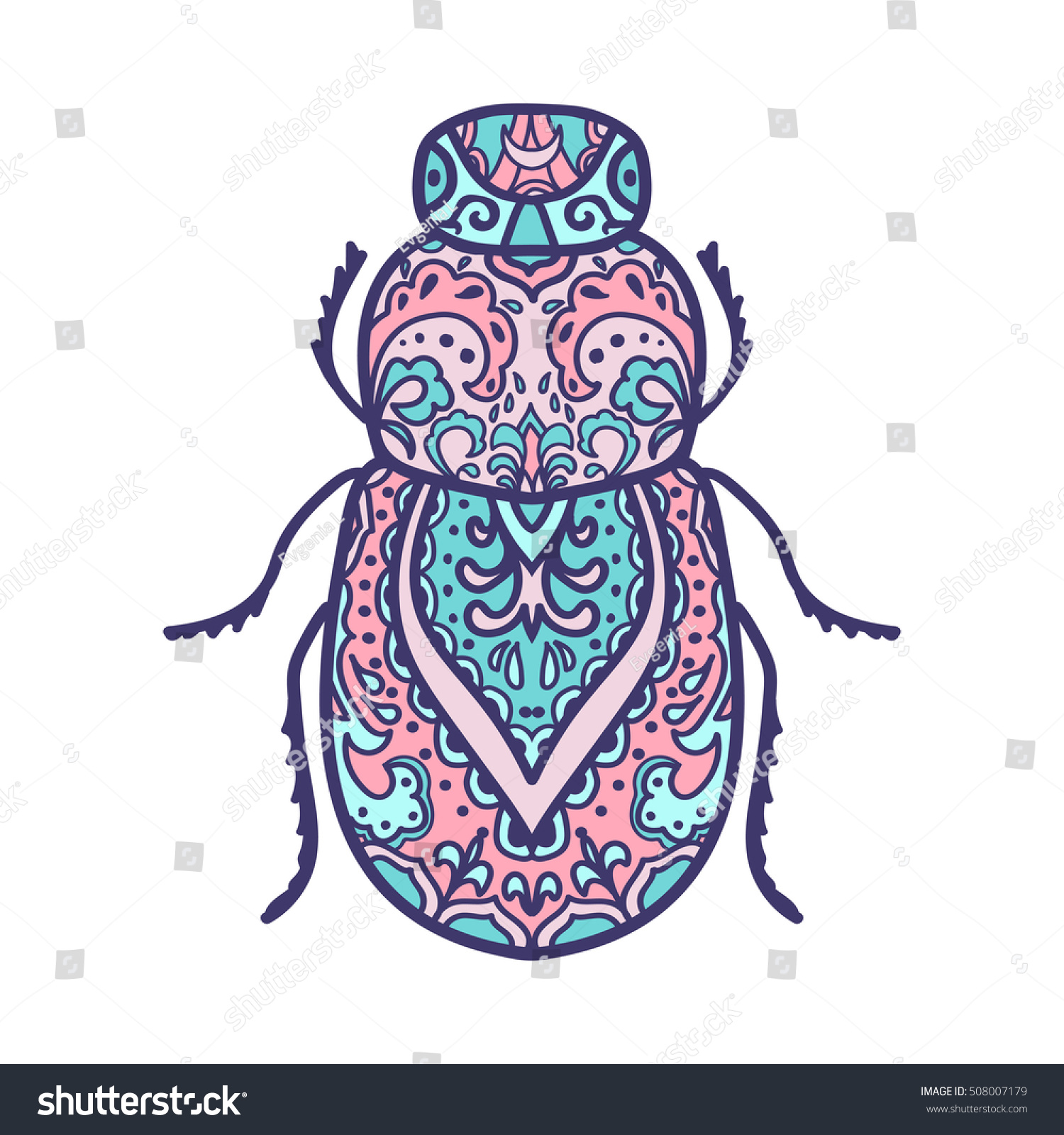 Scarab Beetle Animals Hand Drawn Doodle Stock Vector 508007179