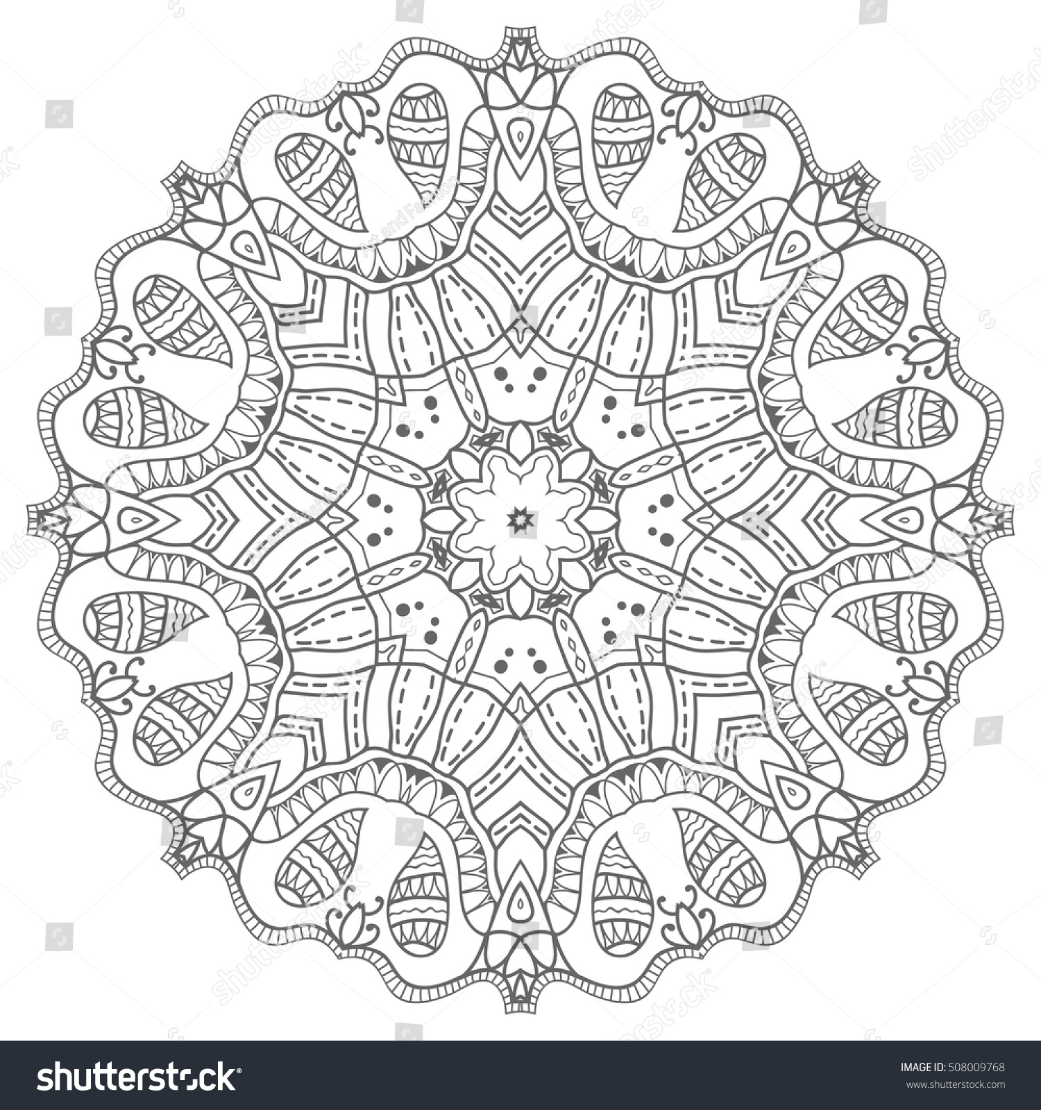 Mandala isolated design element, geometric line pattern. Stylized ...