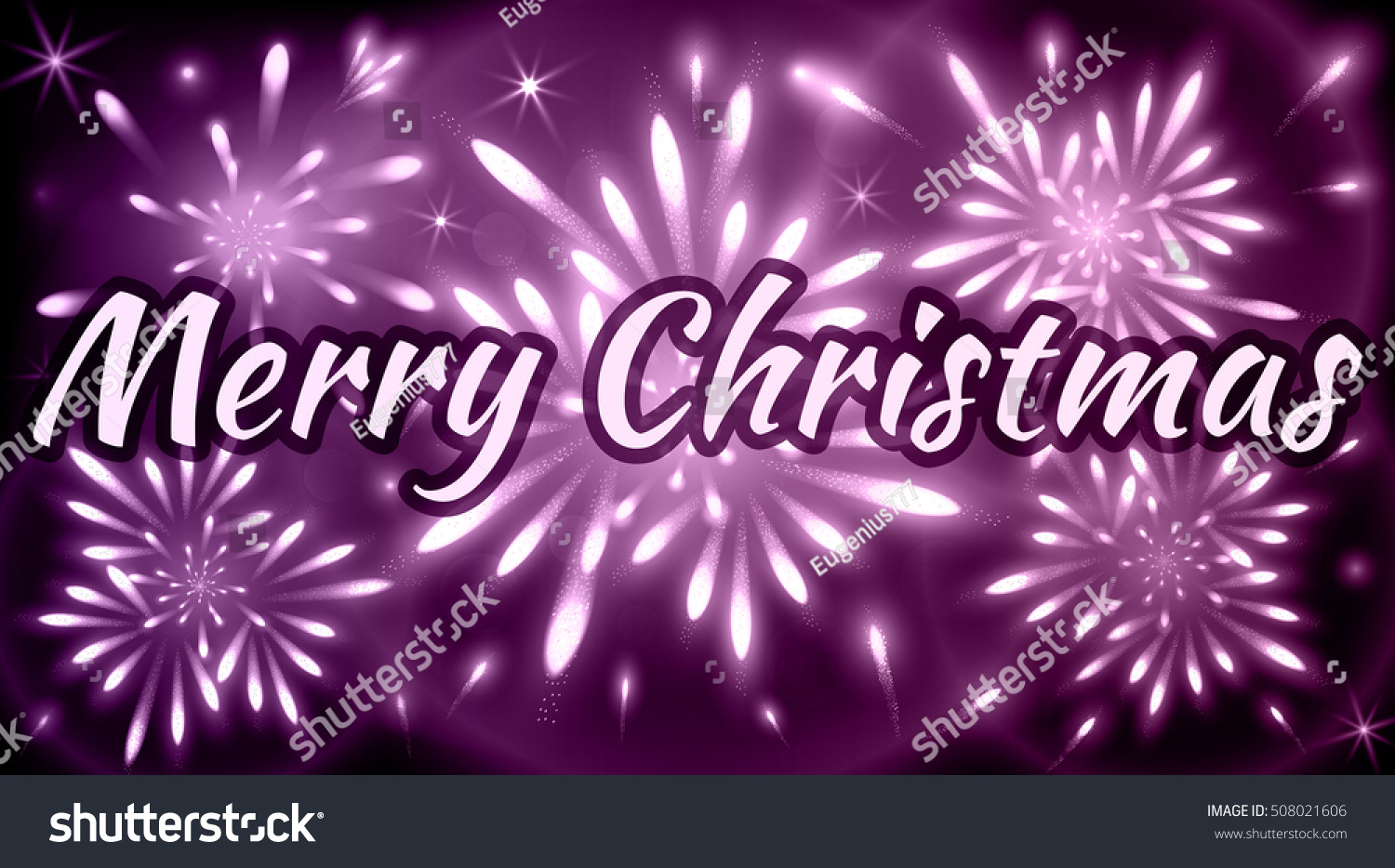 Merry Christmas Greeting Card Fireworks Violet Stock Vector