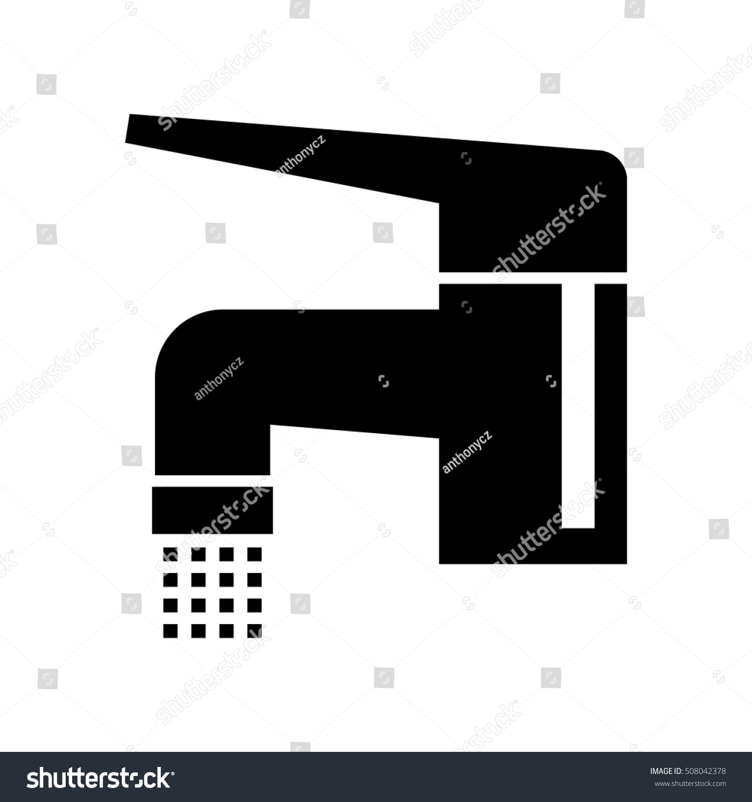 Black Faucet Icon On White Background Stock Vector (Royalty Free ...