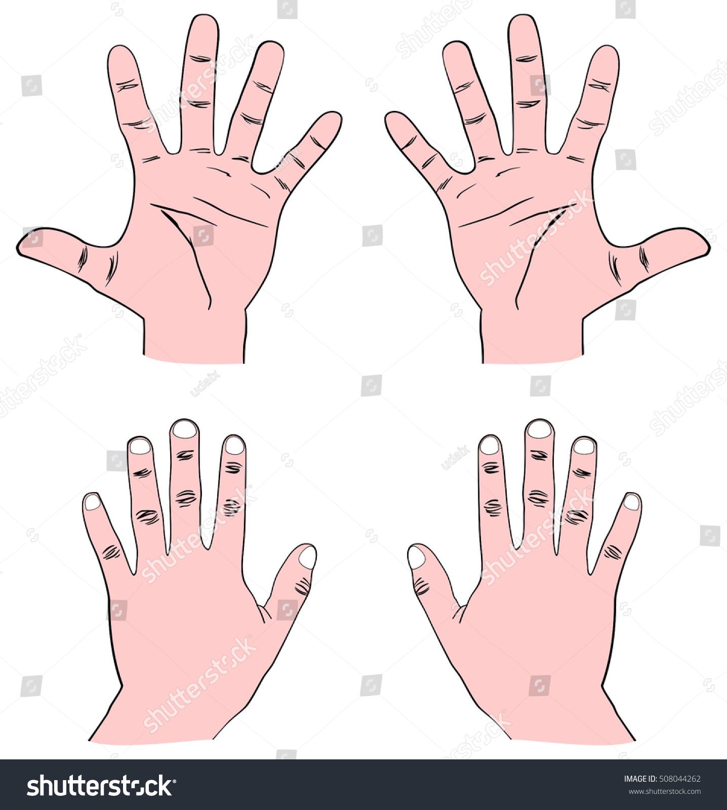 Pair Human Hands Palm Front Back Stock Illustration