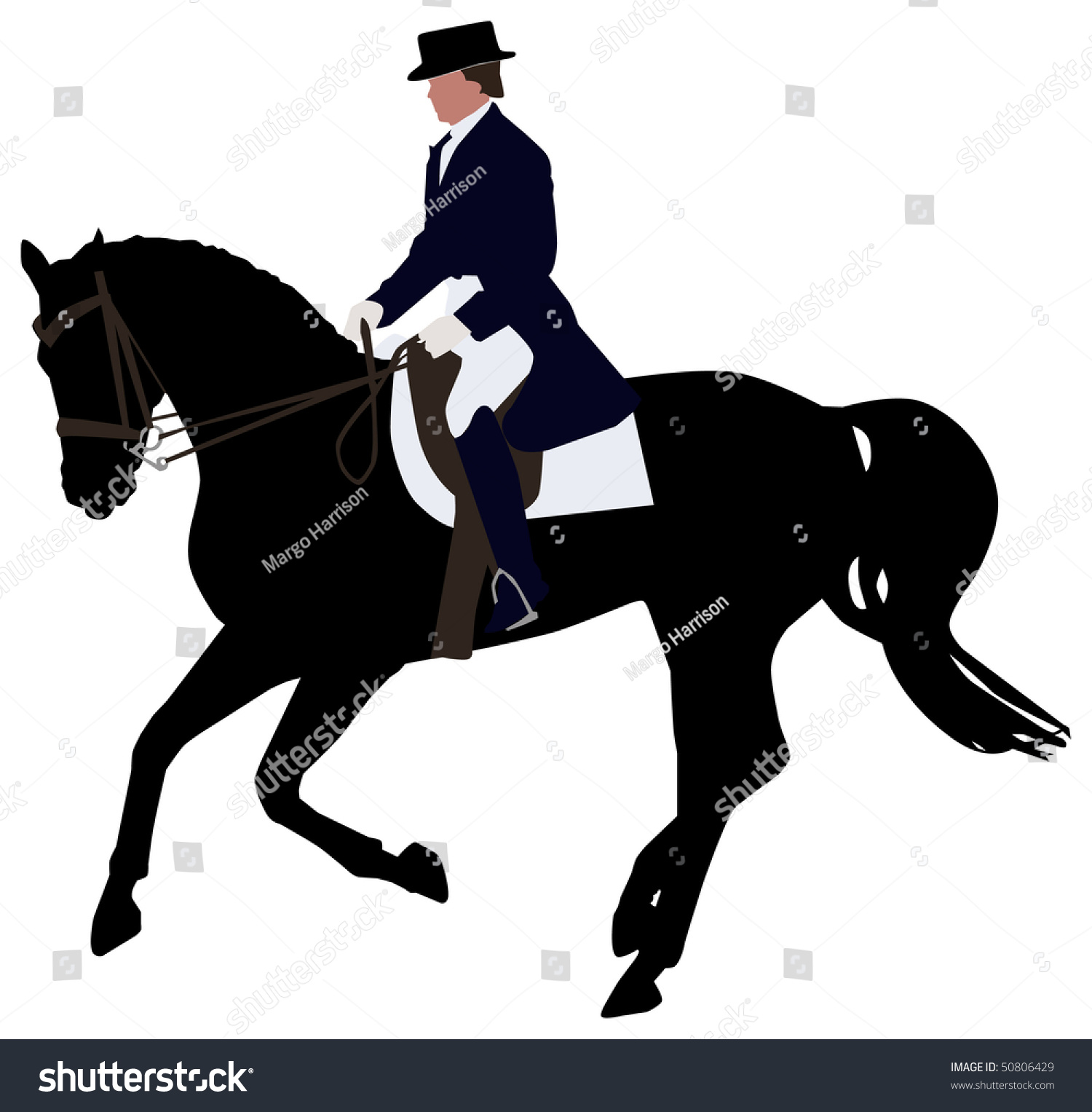 Silhouette Of A Dressage Horse In A Canter Stock Vector Illustration ...