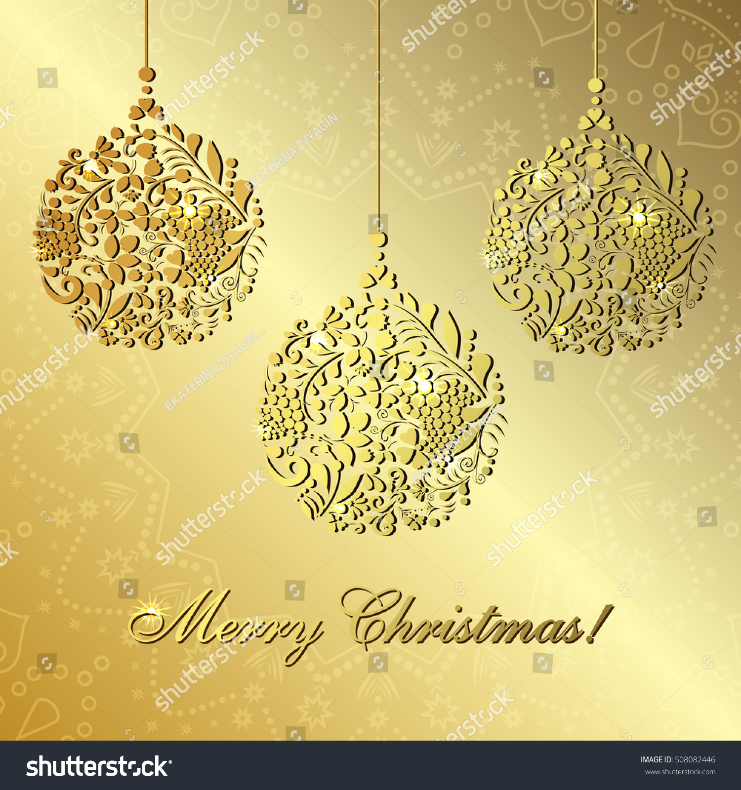Greeting New Year Christmas Card Ornaments Stock Illustration