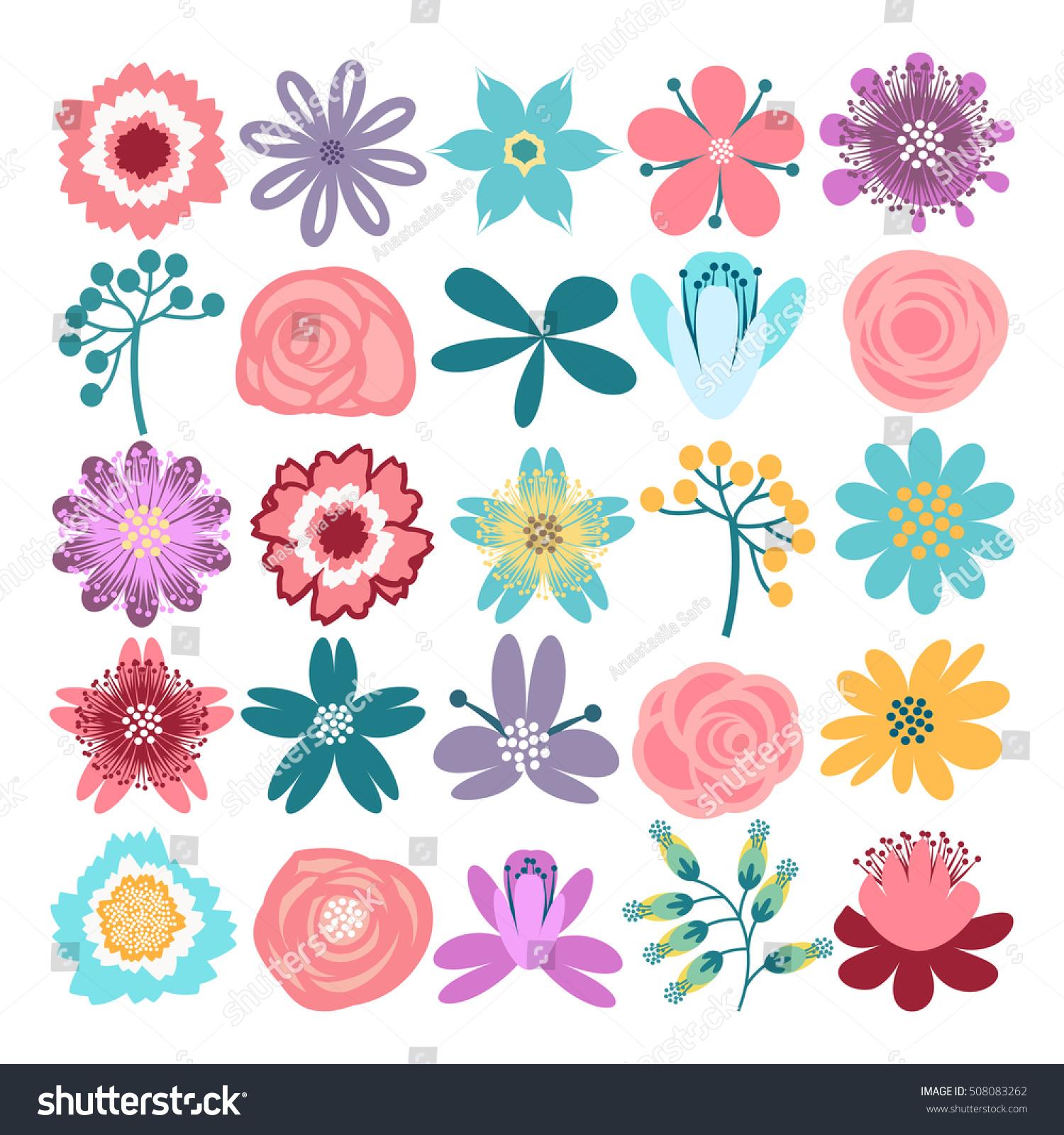 Vector set flowers good birthday cards stock vector 508083262 vector set of flowers good for birthday cards wedding invitations and scrapbook izmirmasajfo