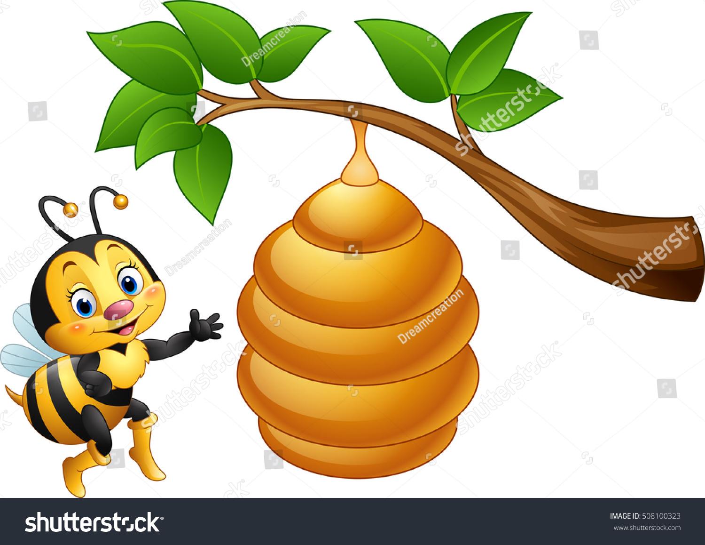 cartoon bee beehive stock vector 508100323 shutterstock