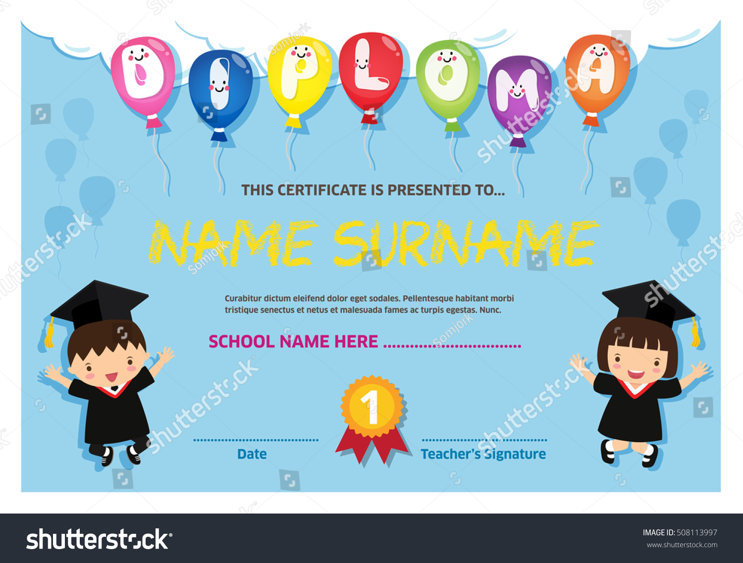 Kids diploma certificate background design template stock vector kids diploma certificate background design template 1betcityfo Gallery