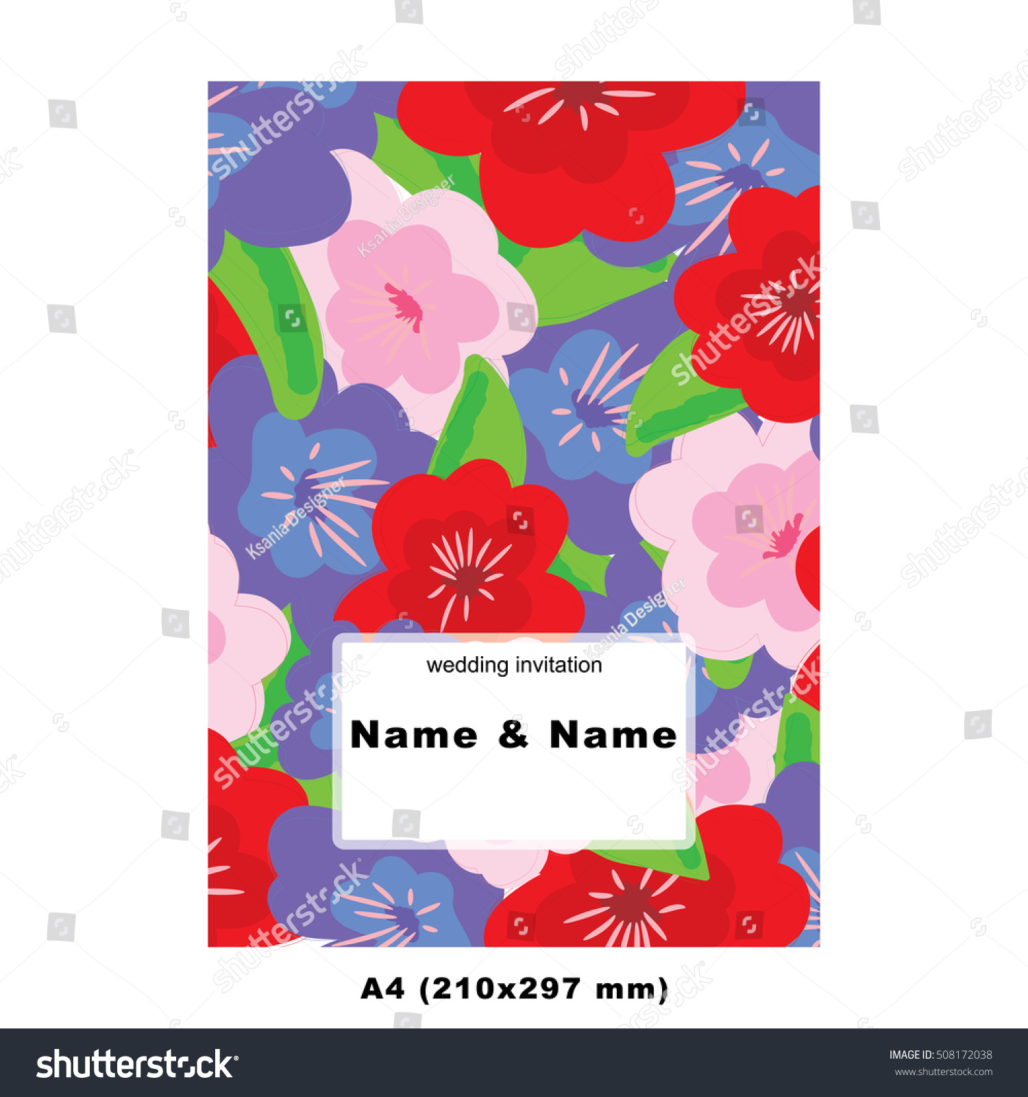 Vector wedding bridal invitation template card decorated with ...