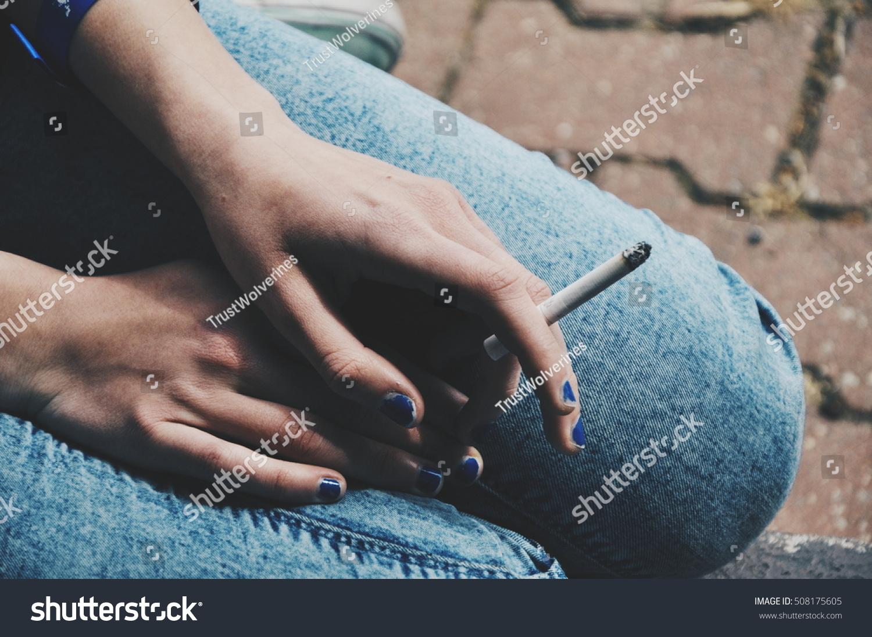 Addiction Social Problem Concept Woman Blue Ugly Stock Photo