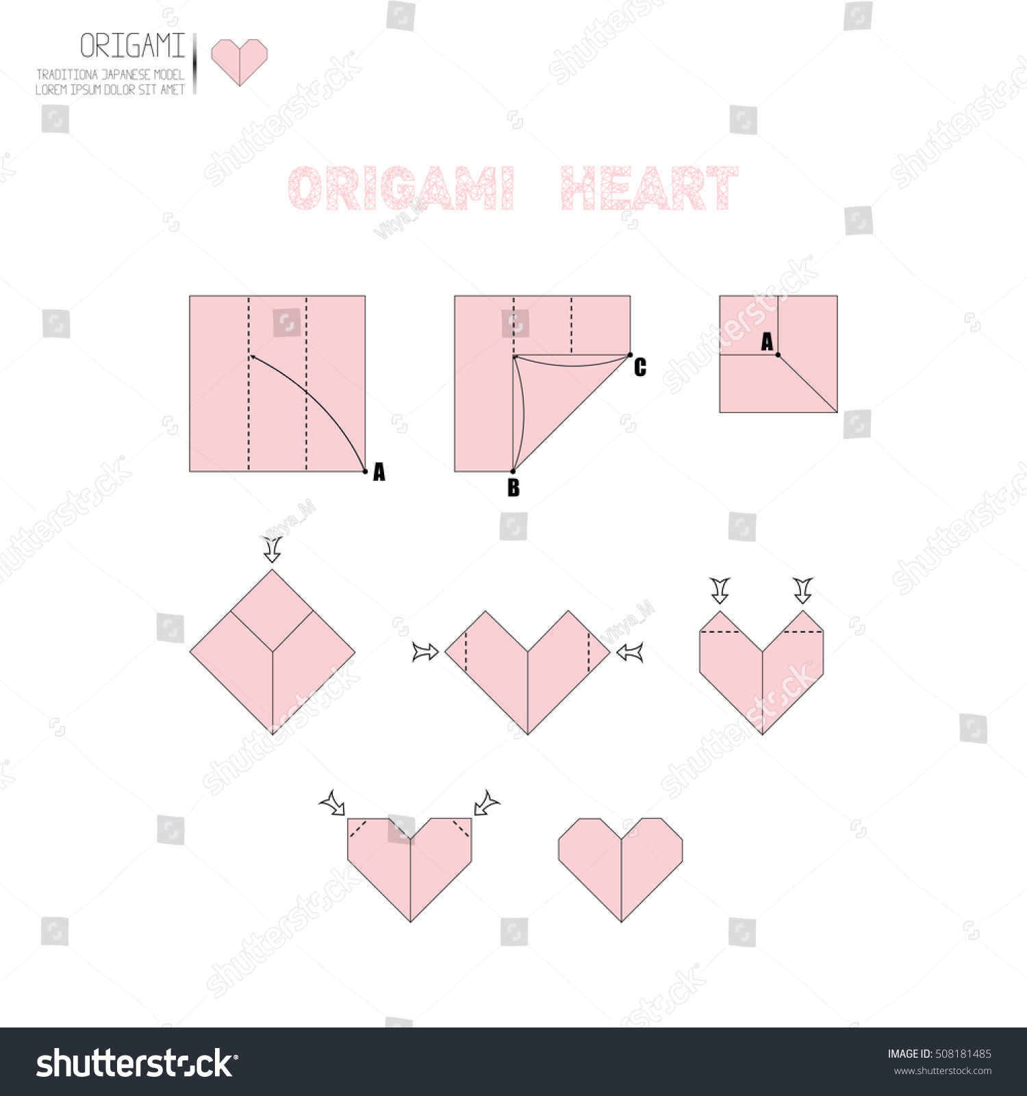 How make origami paper heart stock vector 508181485 shutterstock how to make a origami paper heart jeuxipadfo Choice Image