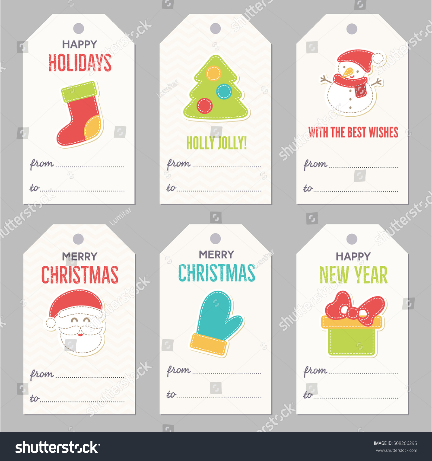 Collection New Year Christmas Gift Tags Stock Vector ...