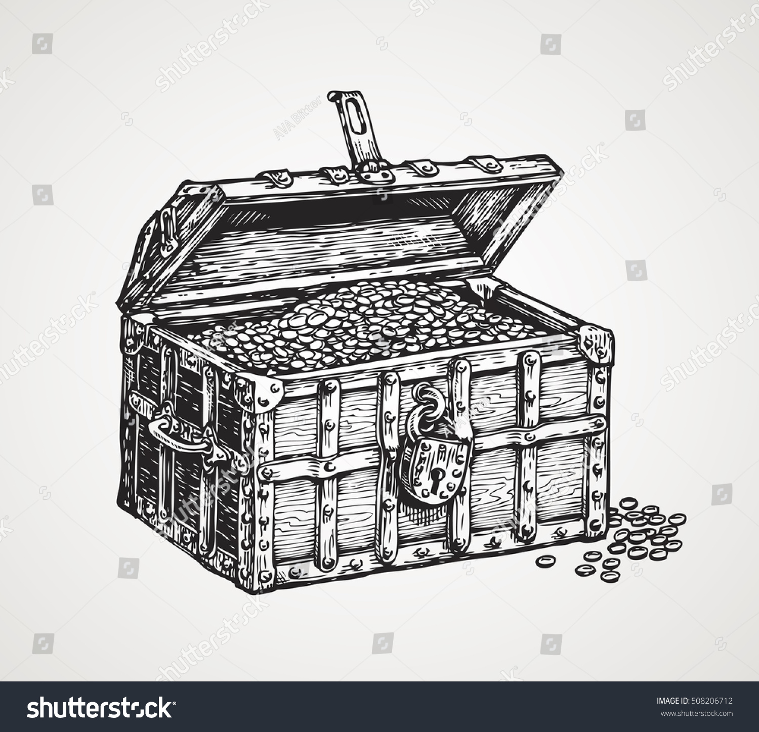 Opened Wooden Chest Treasures Vintage Sketch Stock Vector ...