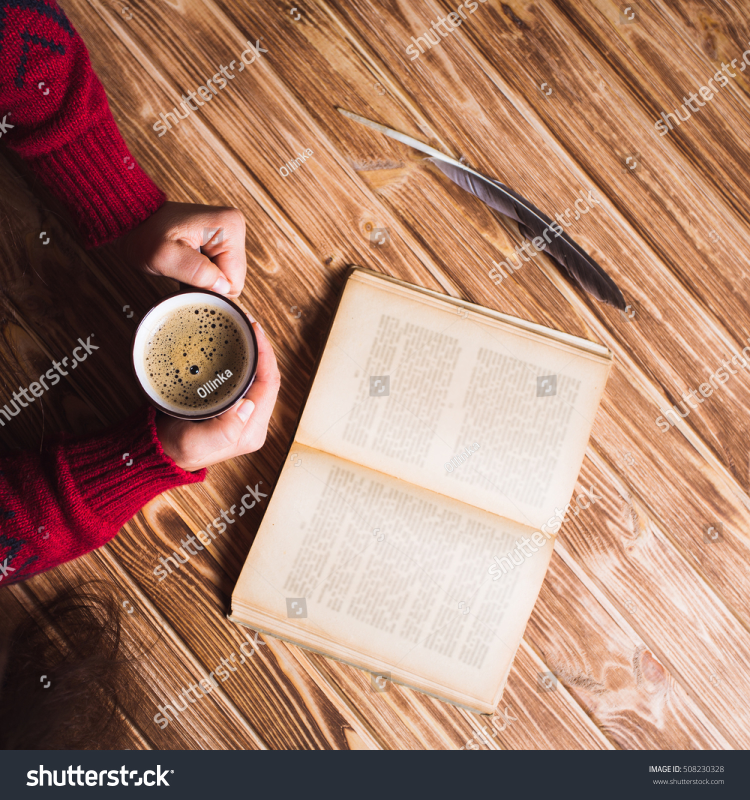 Young Woman Red Sweater Holding Cup Stock Photo 508230328 ...