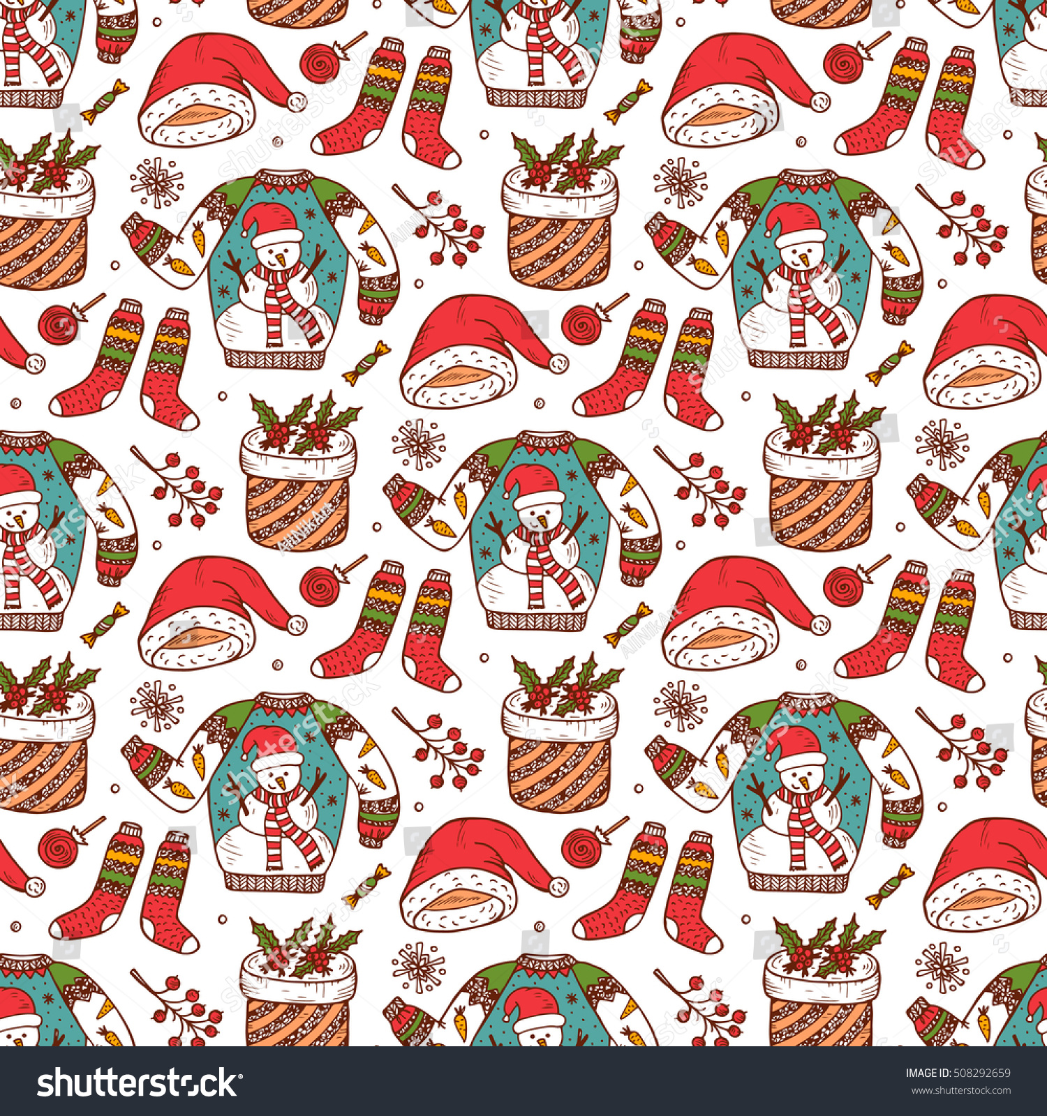 886d70faeb7fc Ugly Christmas Sweater Party. Vector Xmas Seamless pattern. Hand Drawn  Doodle Christmas festive knitted