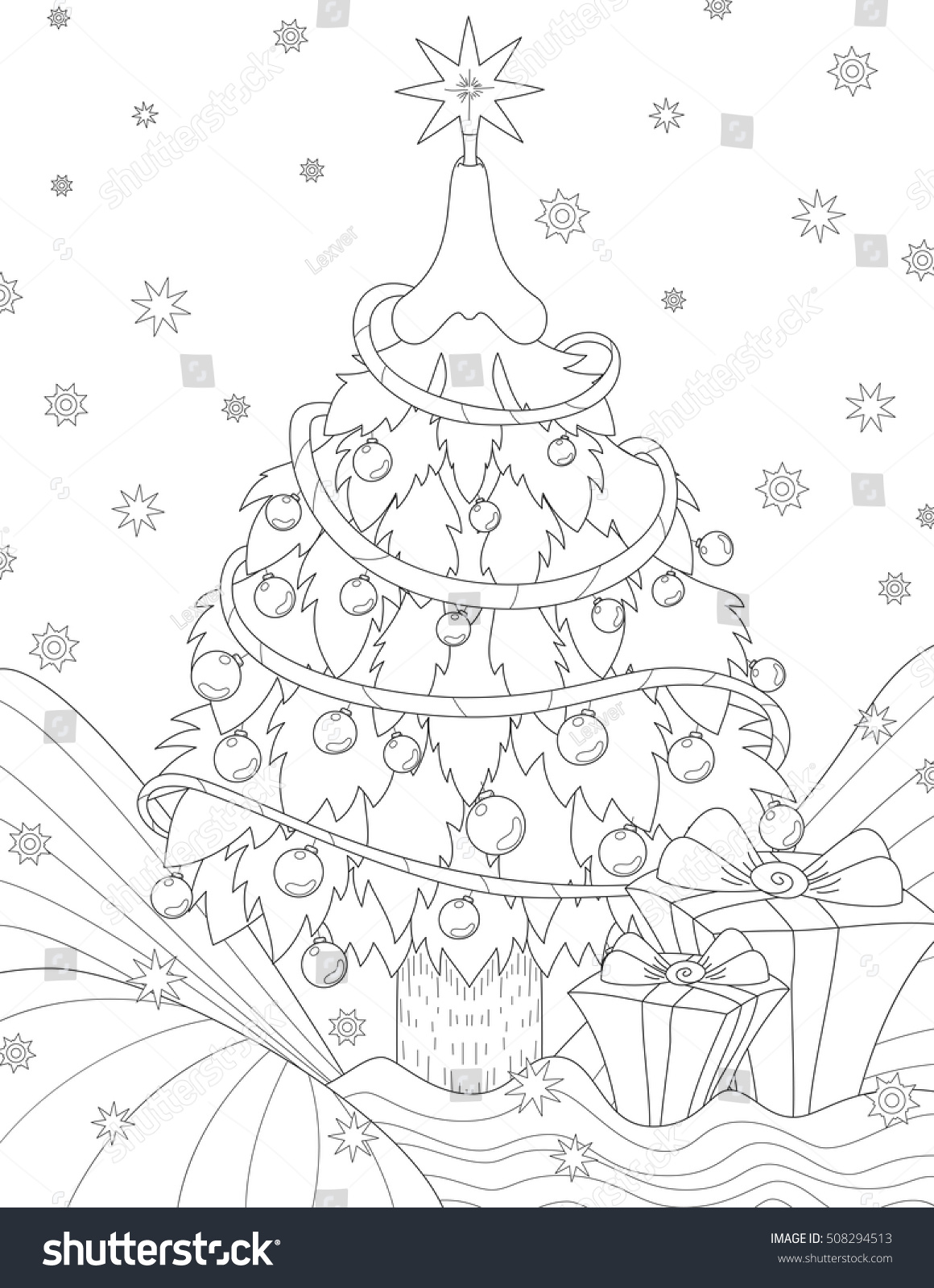 Vector Anti Stress Coloring Book Page For Adult Pattern With Christmas Tree And Gifts In