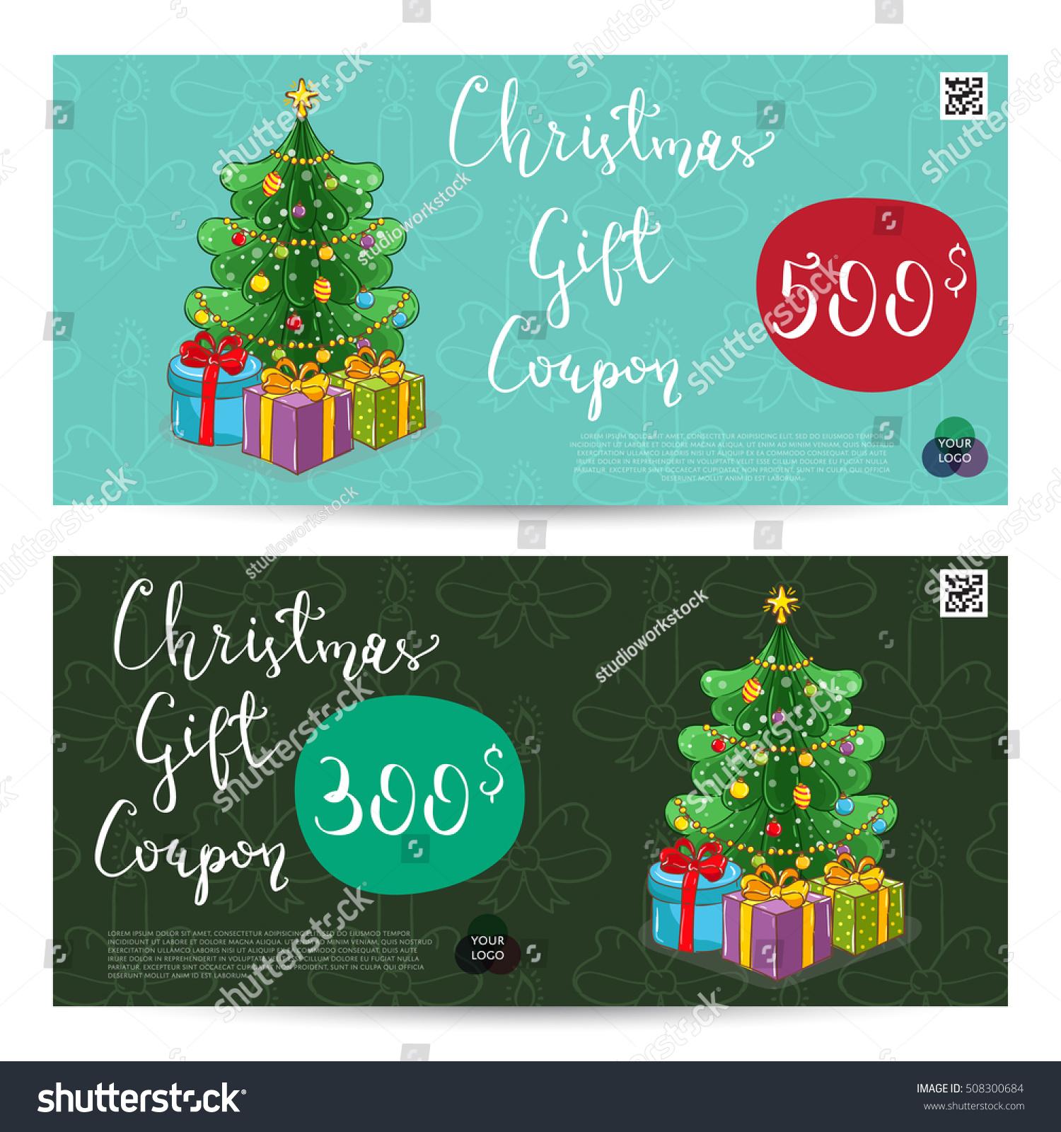 Christmas Voucher Template Vector. Xmas Gift Voucher Layout Or Discount  Voucher. Special Offer Gift
