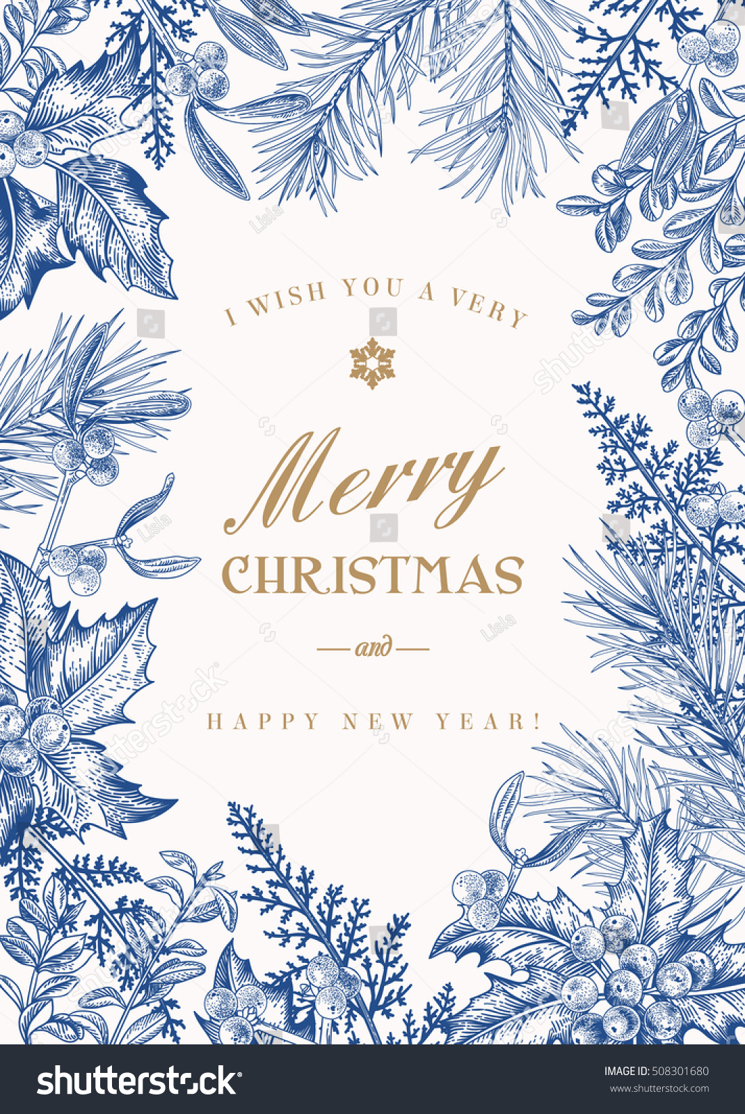 greeting christmas card vintage style winter stock vector