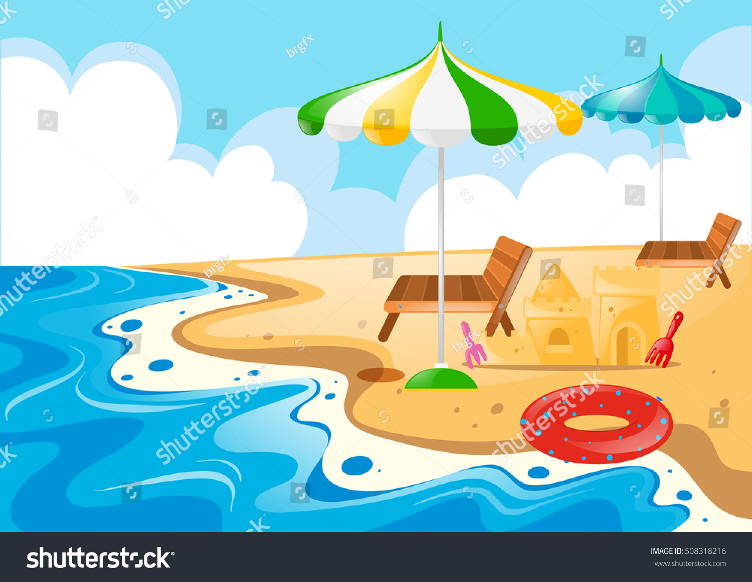 Beach Scene Chairs Umbrellas Illustration Stock Vector (Royalty Free ...