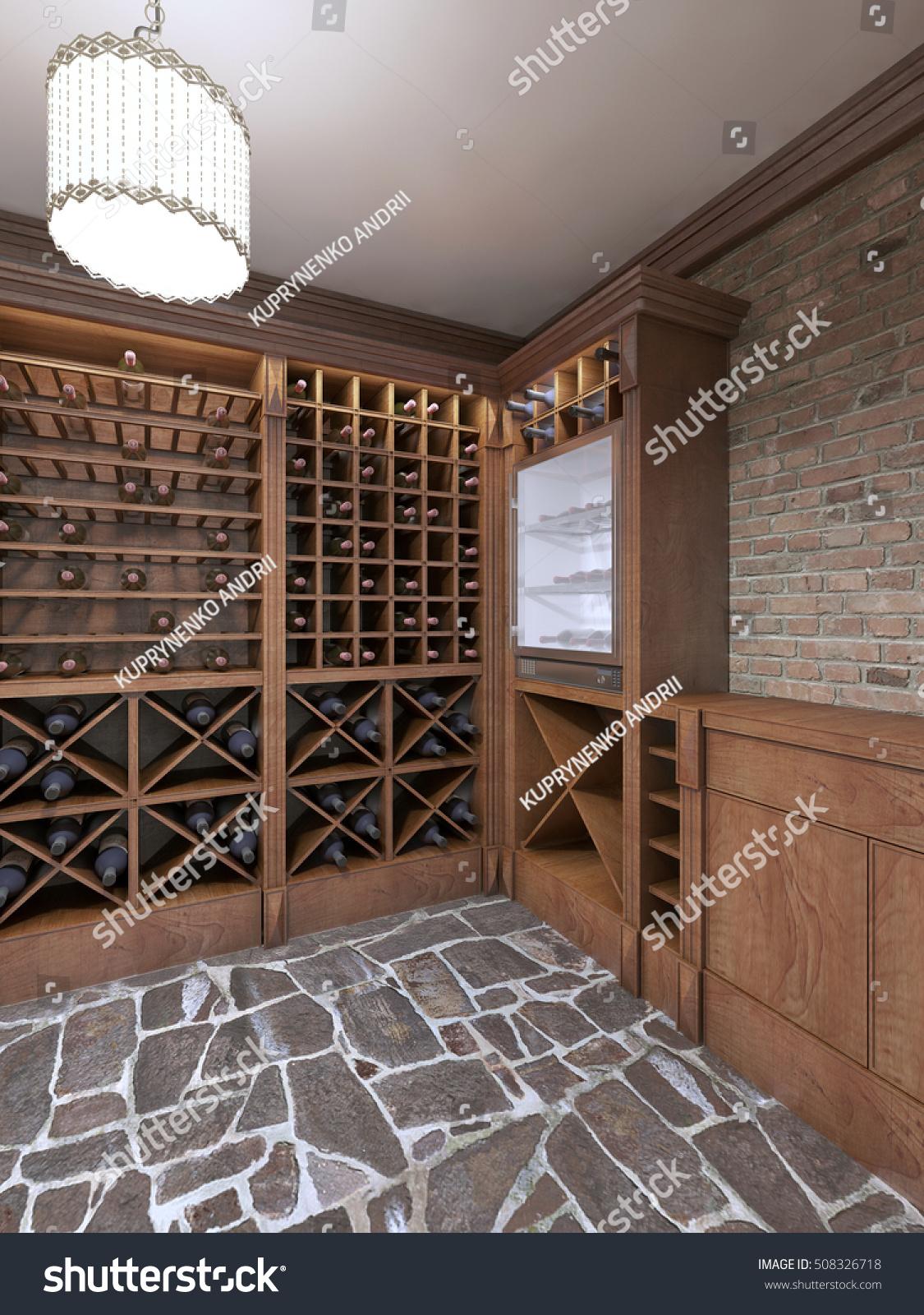 Wine Cellar Basement House Rustic Style Stock Illustration 508326718