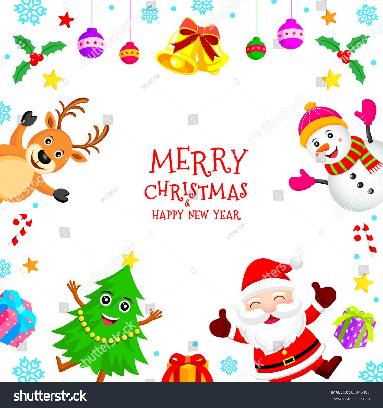 Christmas Characters Frame Santa Claus Snowman Stock Vector (Royalty ...