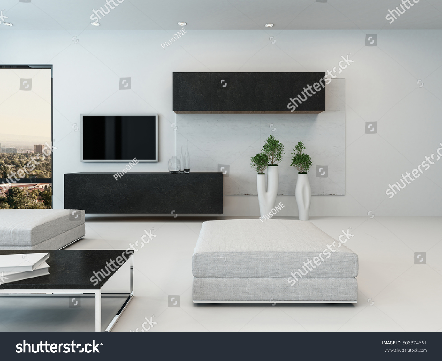 Contemporary White Living Room Ottoman Wall Stock Illustration ...
