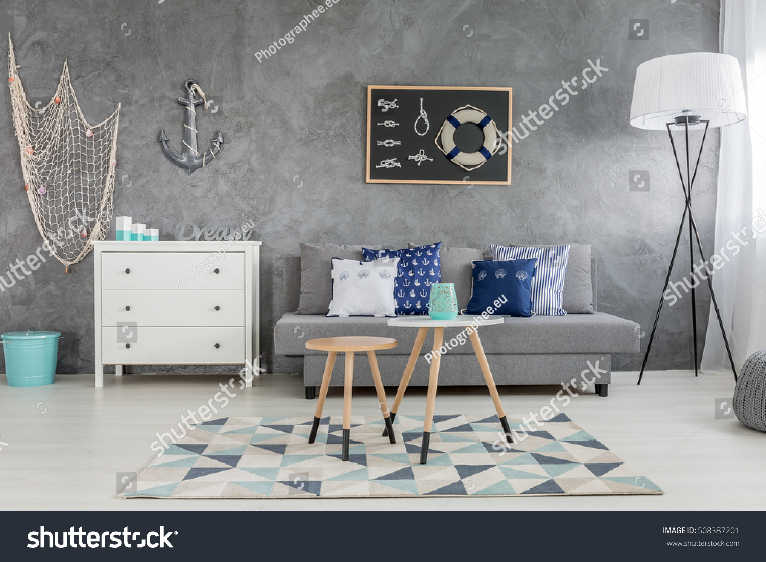 Modern Grey Living Room Nautical Decorations Stock Photo Edit Now 508387201