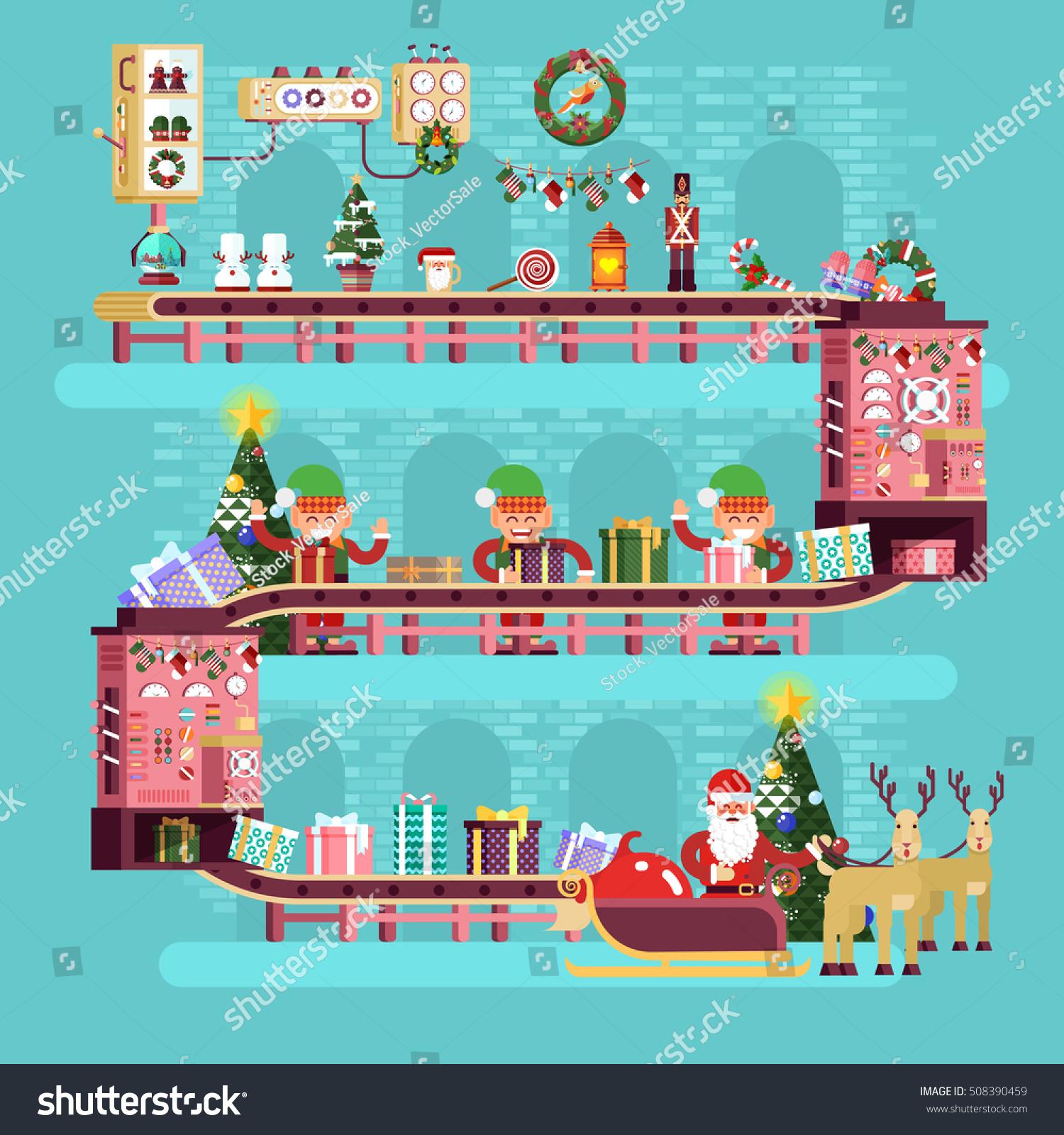 Stock vector illustration isolated christmas conveyor