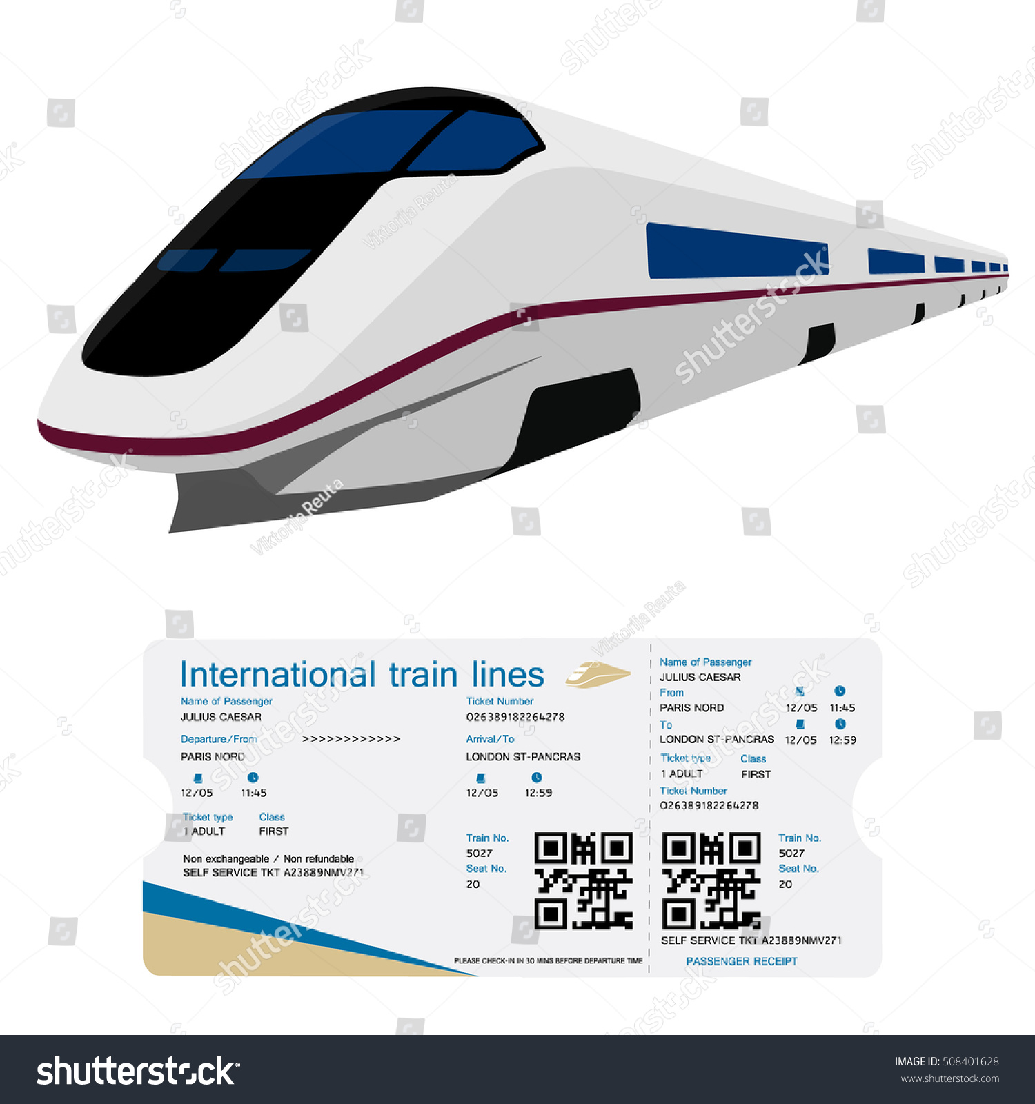 vector illustration high speed train ticket stock vector 508401628 shutterstock. Black Bedroom Furniture Sets. Home Design Ideas