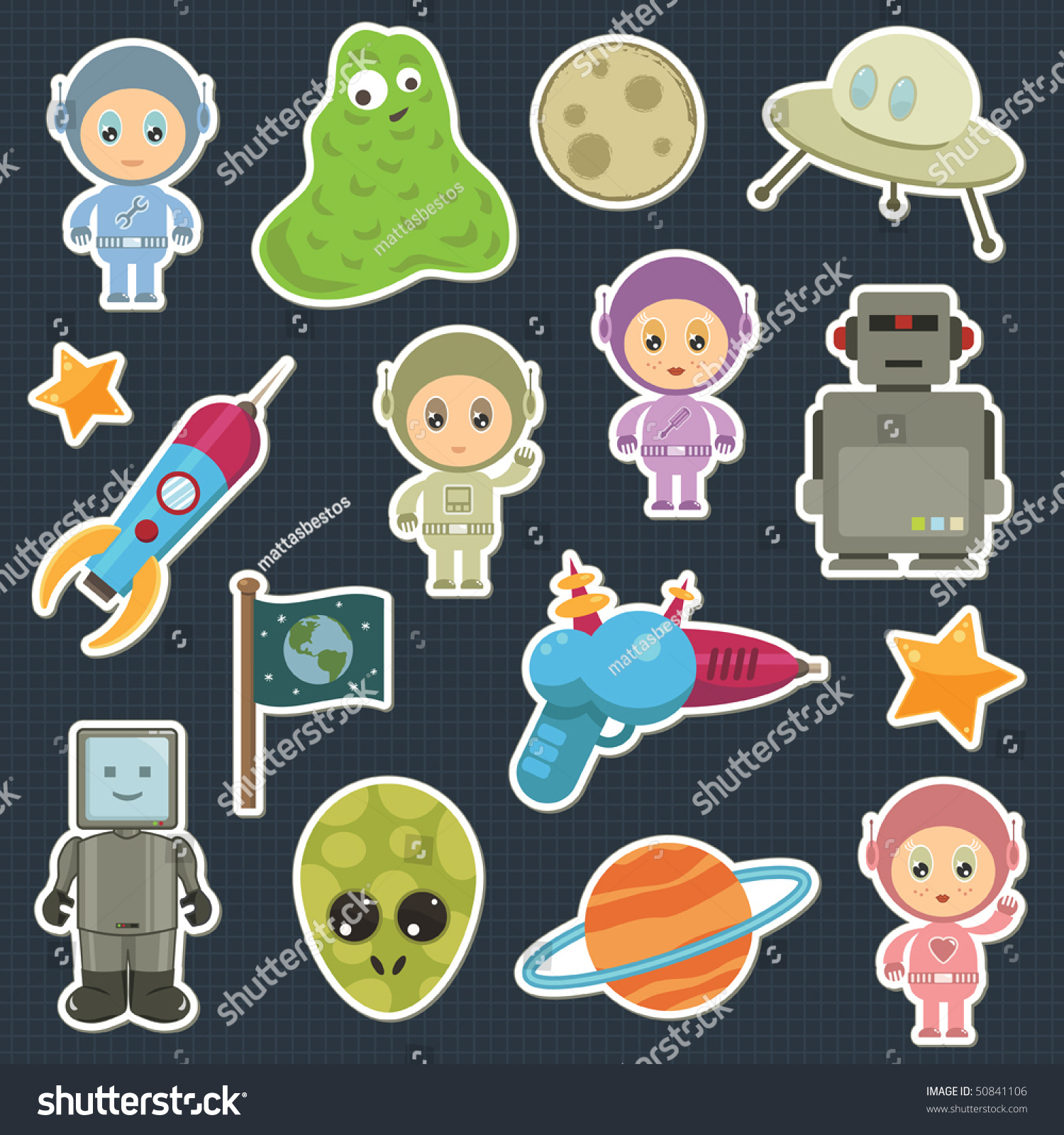collection of space stickers with robots aliens and astronauts. Collection Space Stickers Robots Aliens Astronauts Stock Vector