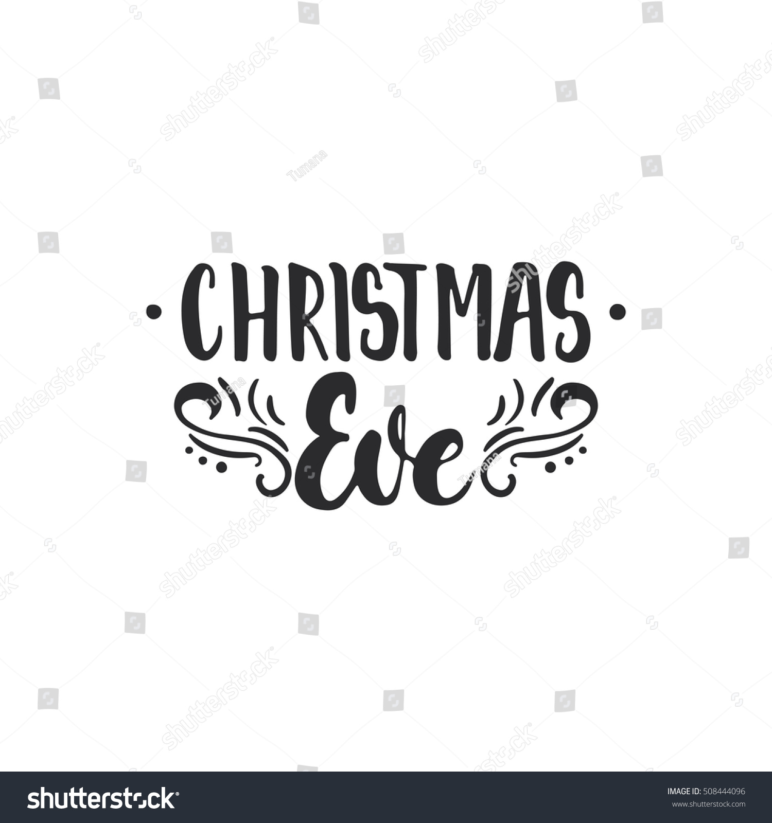 Christmas Eve Lettering Christmas New Year Stock Vector (Royalty ...