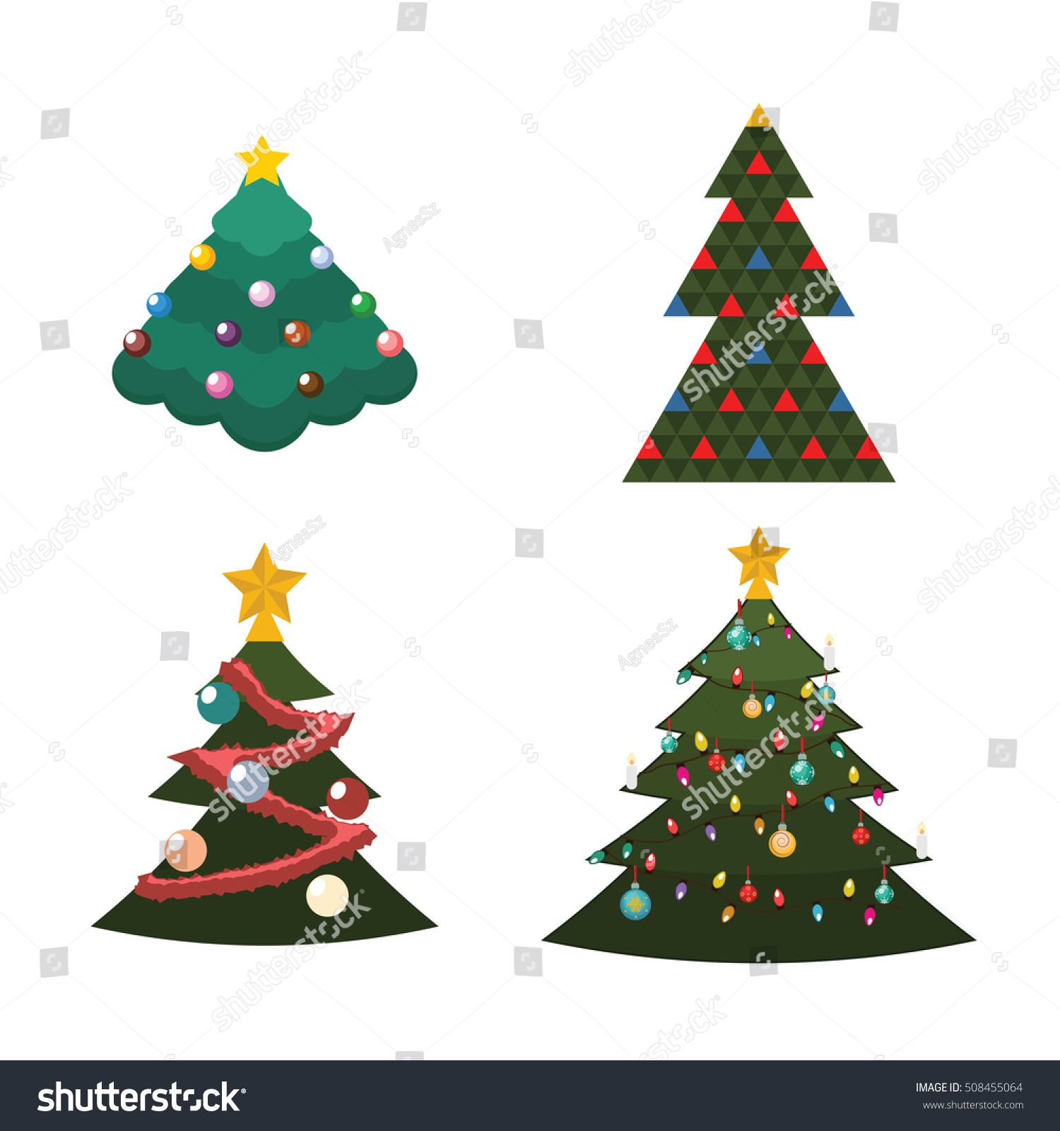 Illustration 4 Different Kind Christmas Trees Stock Vector (Royalty ...