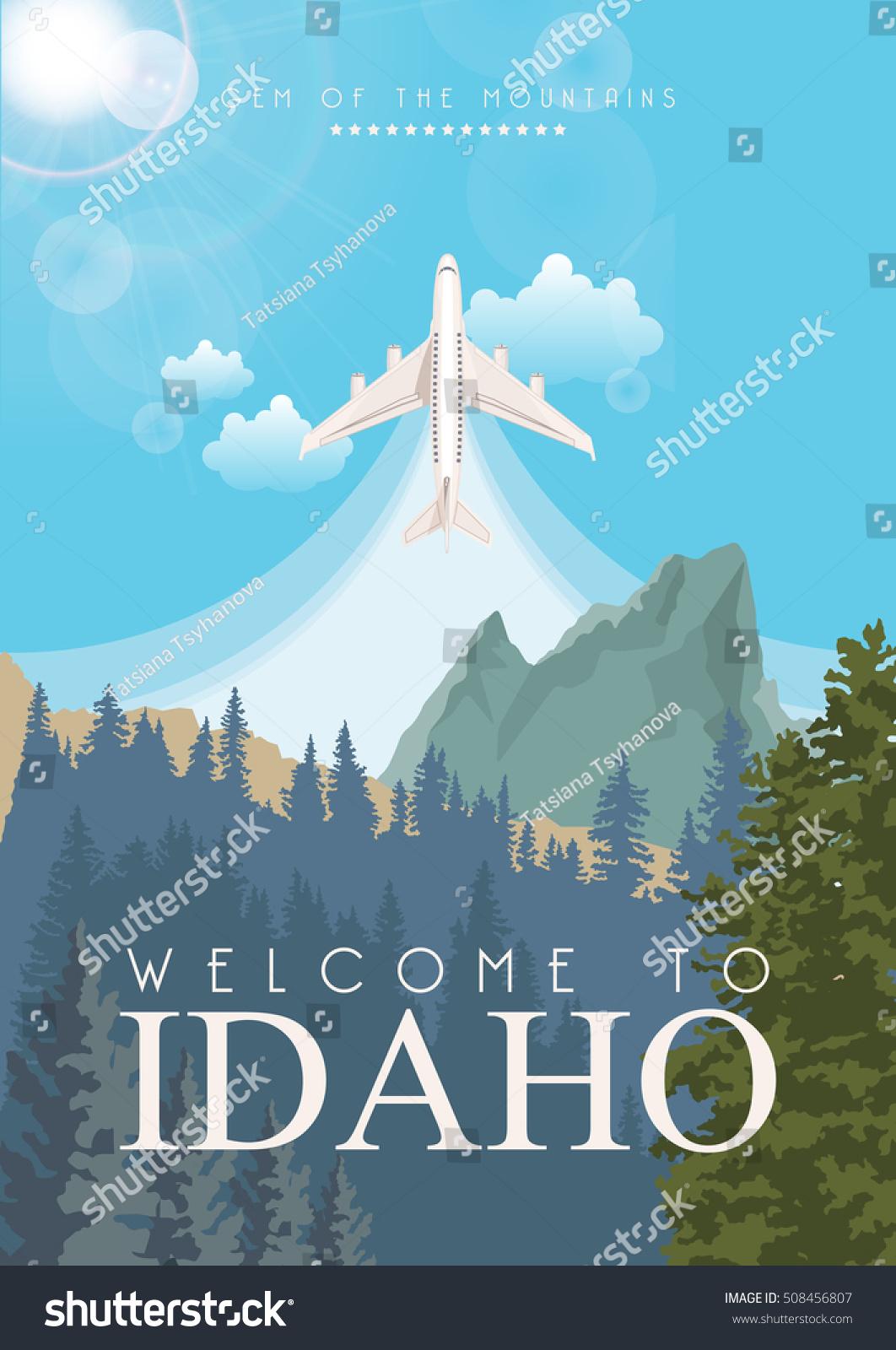 Idaho Vector Poster American Style Greeting Stock Vector Royalty