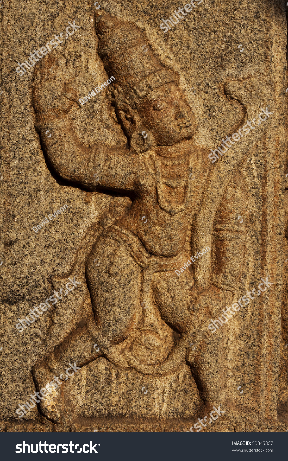 Stone relief carving hampi india stock photo