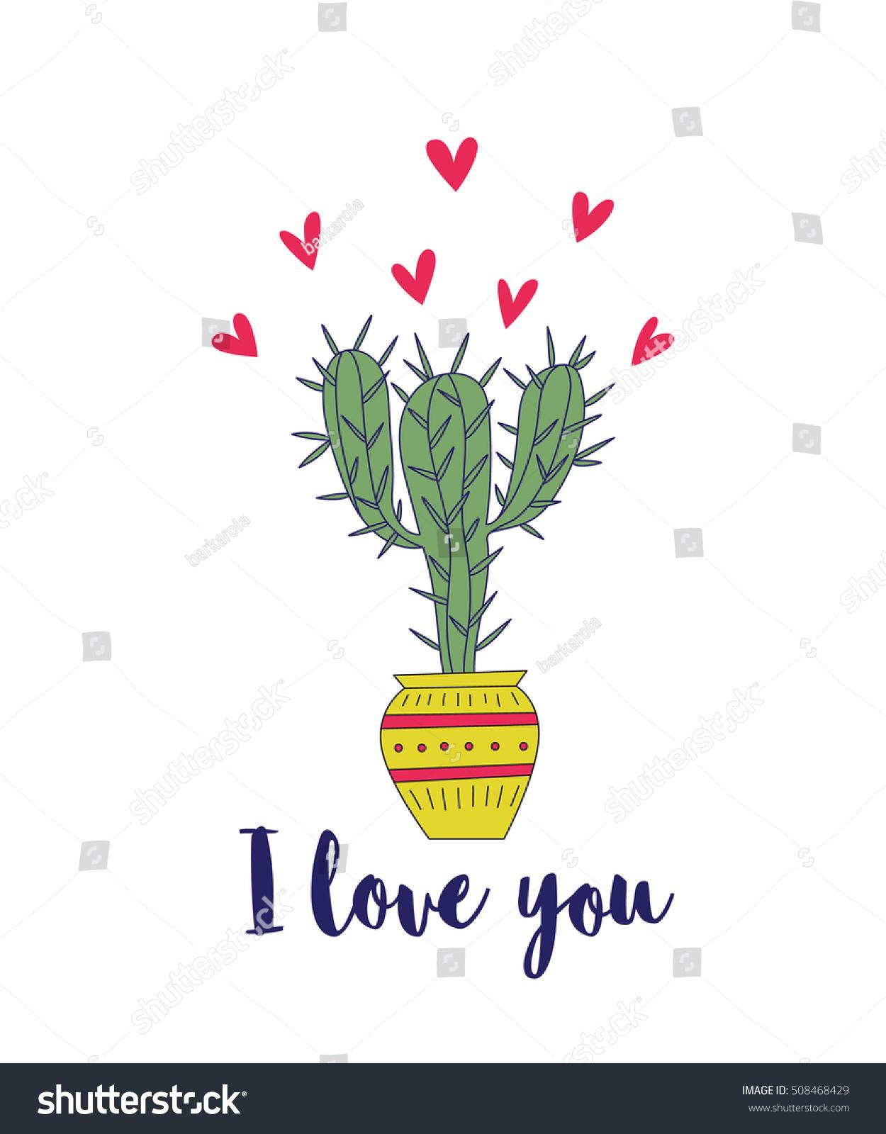 vector illustration nice cactus valentines day のベクター画像素材