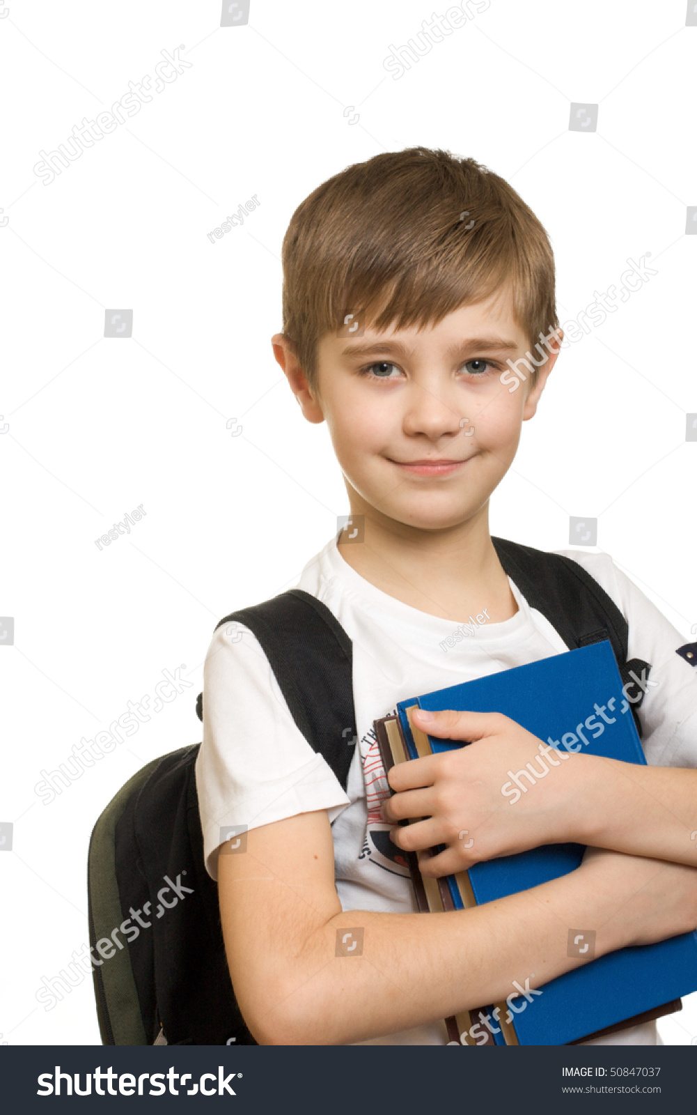 10 Years Old Boy Backpack Isolated Stock Photo 50847037 Shutterstock