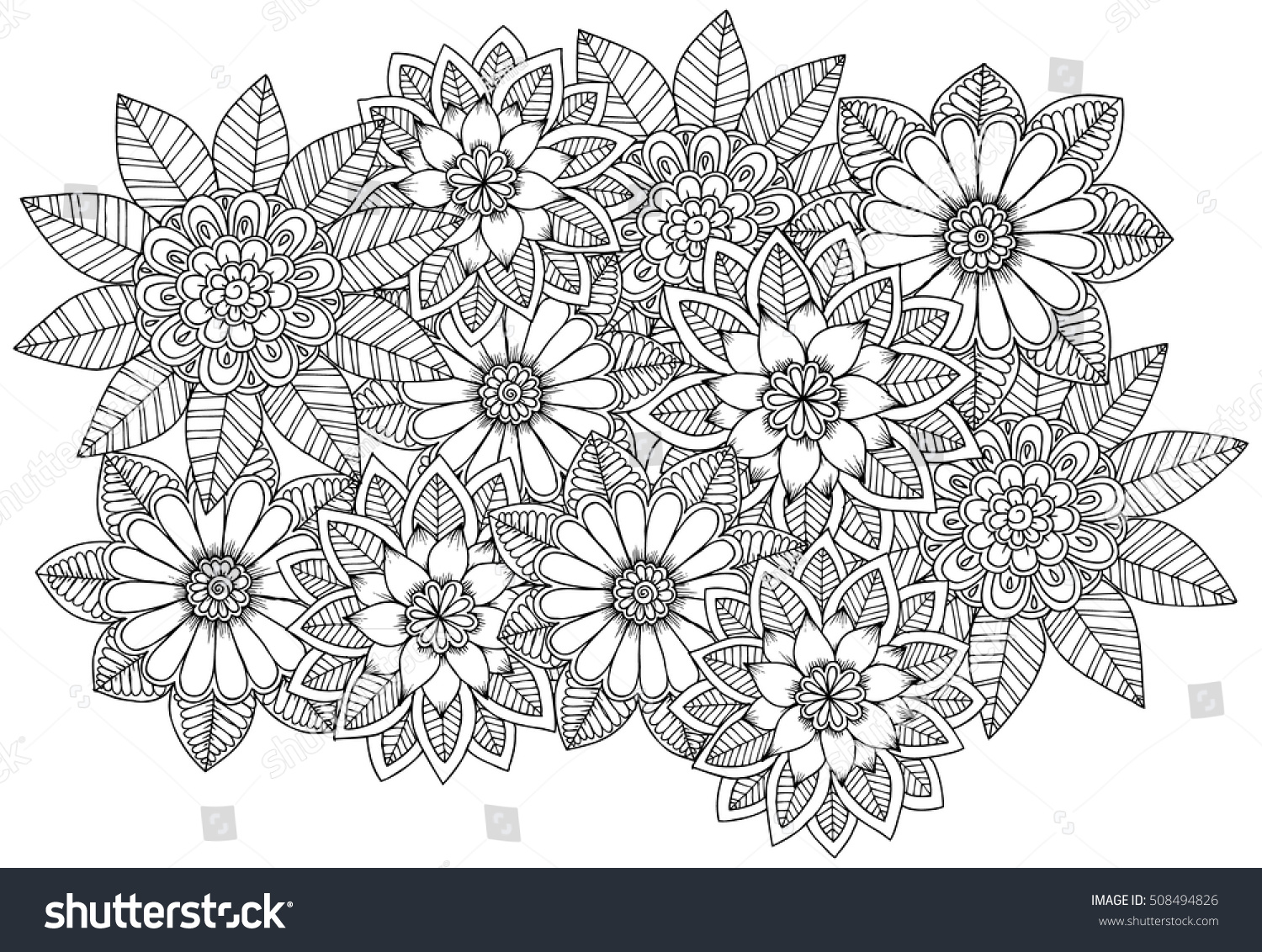 black white flower pattern coloring doodle stock vector 508494826