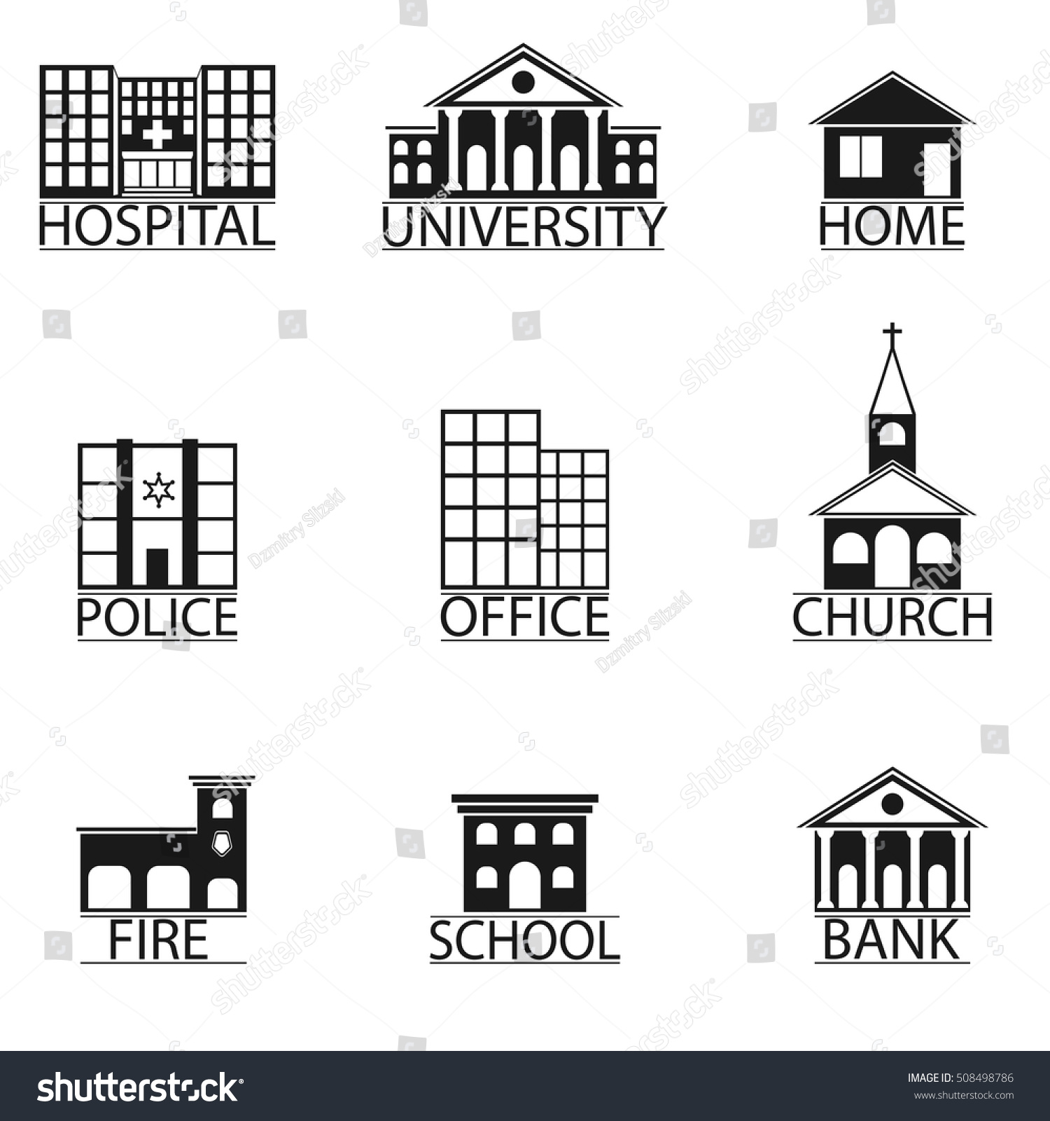 Set Icons Buildings Vector Hospital Police Stock Vector 508498786 ...