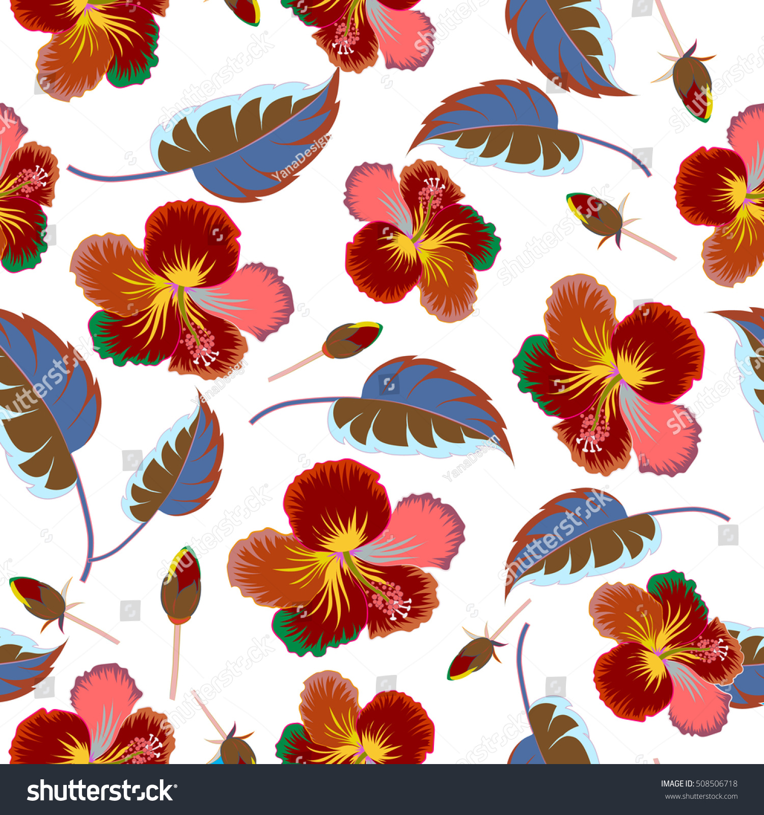 Bright hawaiian design with vector tropical plants and hibiscus ...