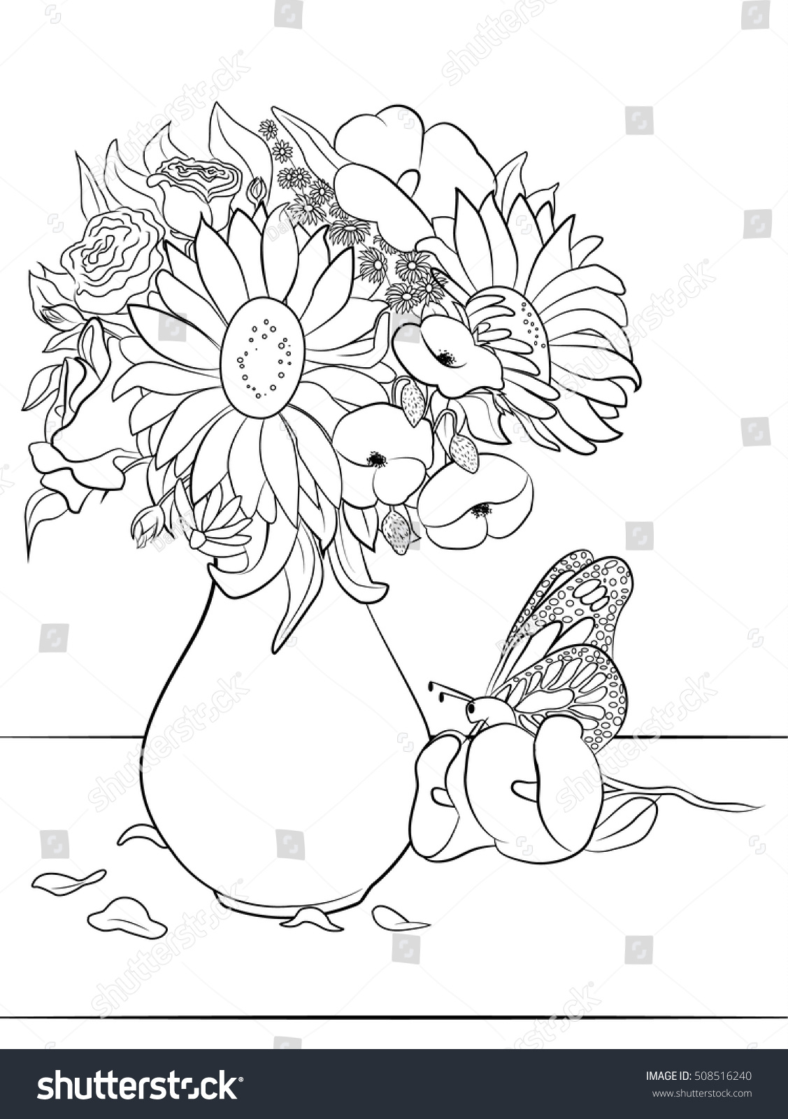 Vase with flowers  Coloring page for adults and kids Flowers Page Adults Kids Stock Vector 508516240