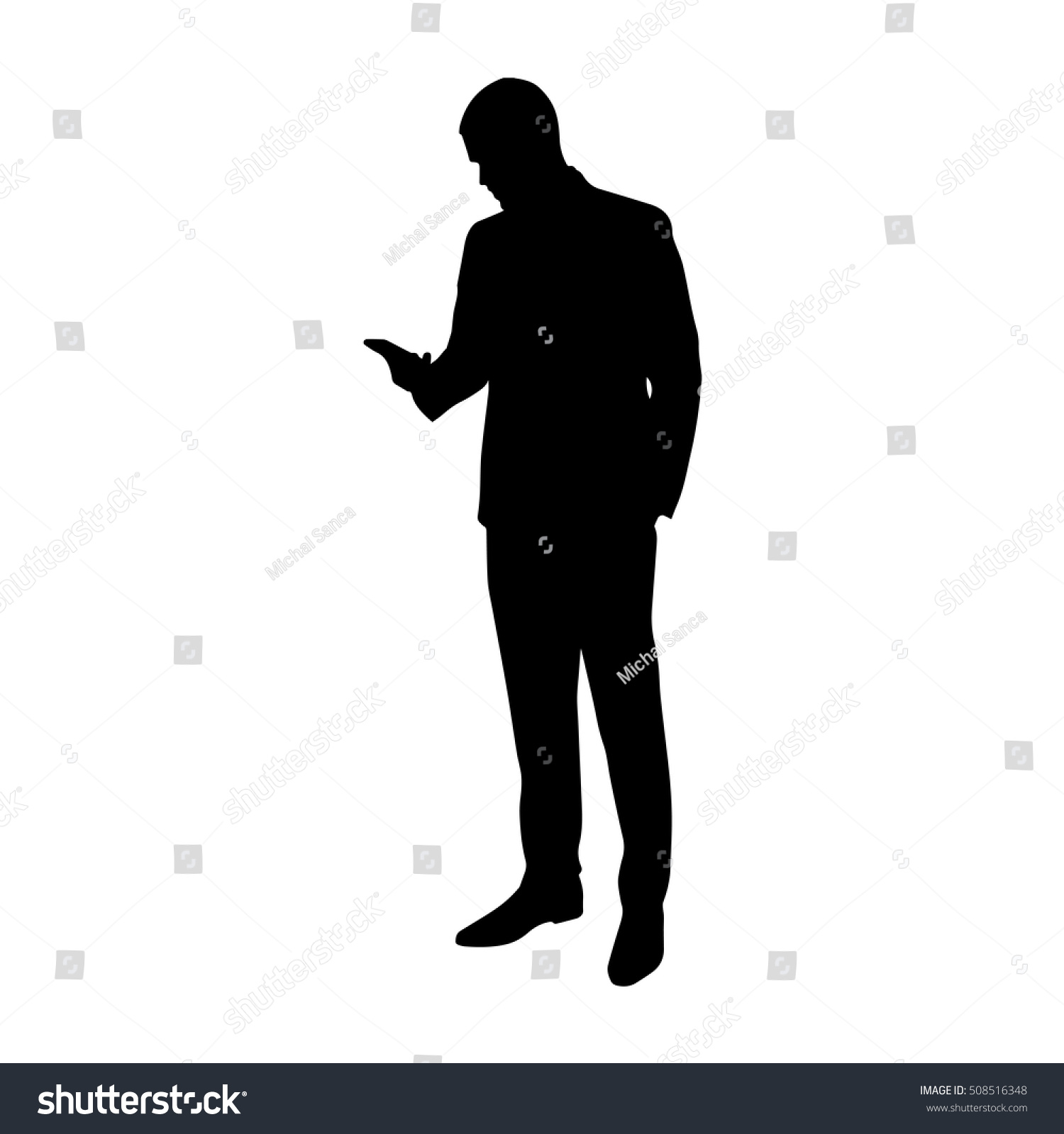 Business Man Cell Phone His Hand Stock Vector 508516348