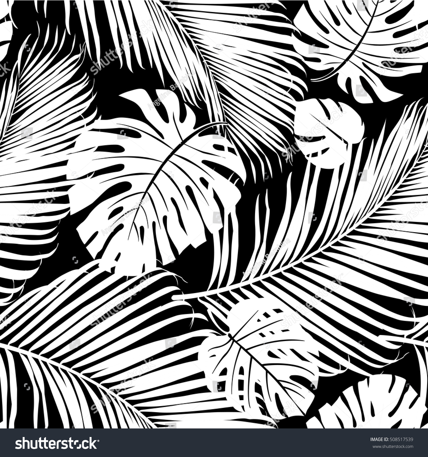 Seamless Repeating Pattern Silhouettes Palm Tree 508517539