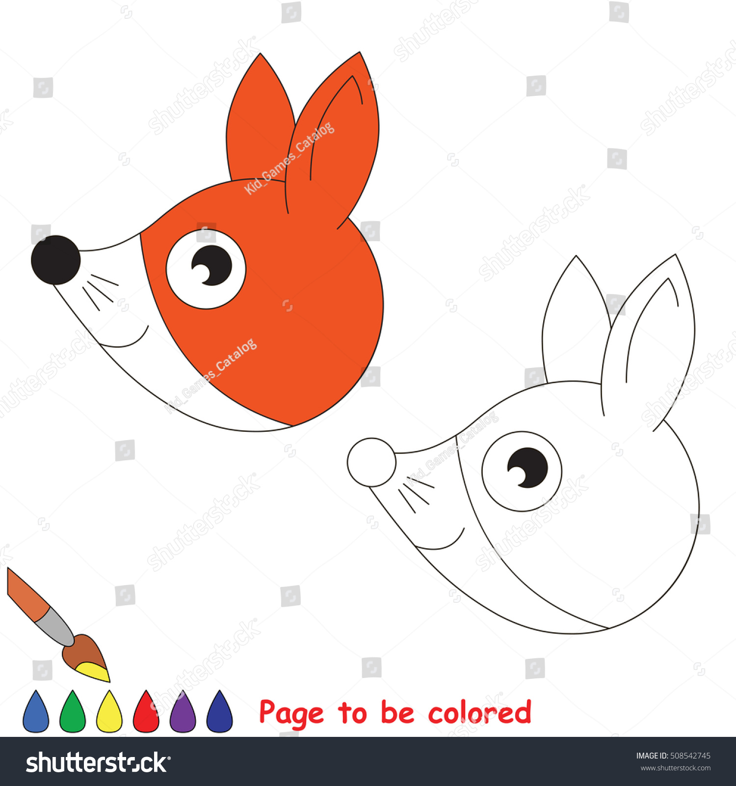 Fox Head Be Colored Coloring Book Stock Vector 508542745 - Shutterstock
