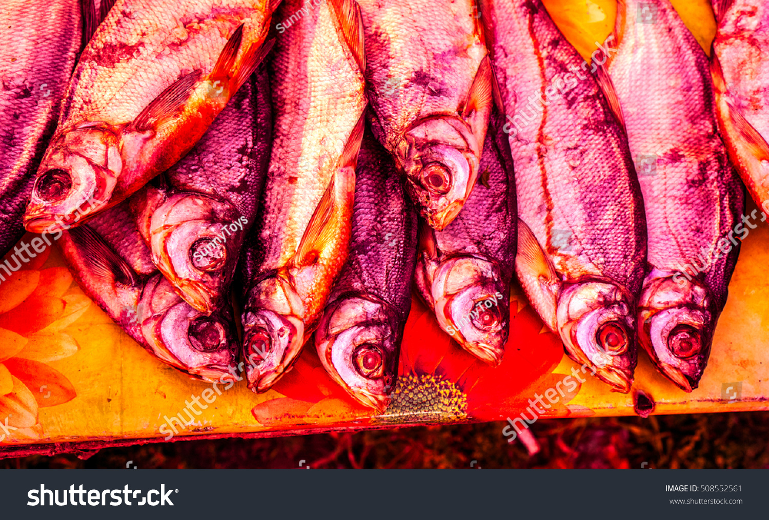 Red Dried Fish On Table Toned Stock Photo (Royalty Free) 508552561 ...
