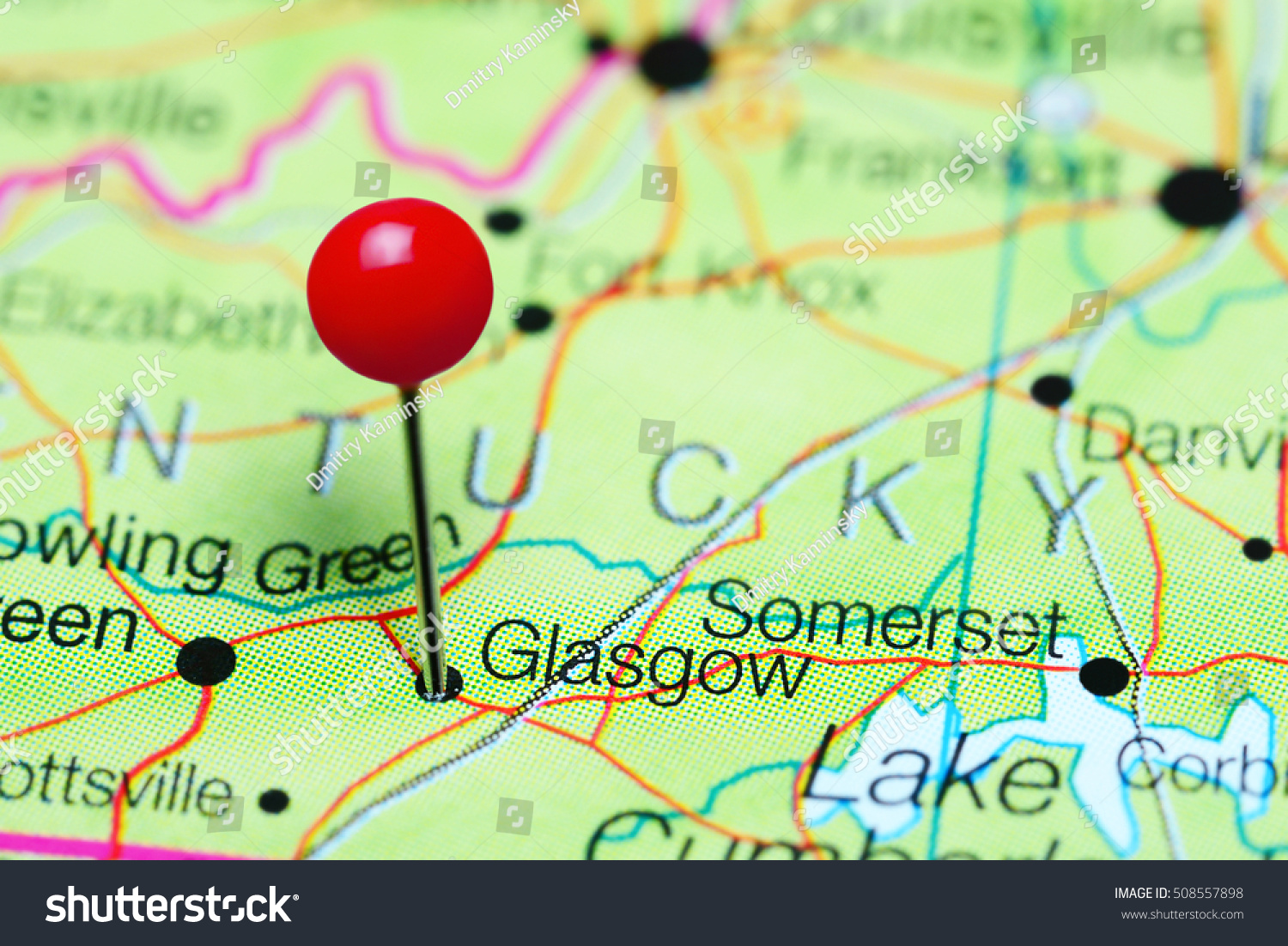 Glasgow Pinned On Map Kentucky Usa Stock Photo 508557898 Shutterstock